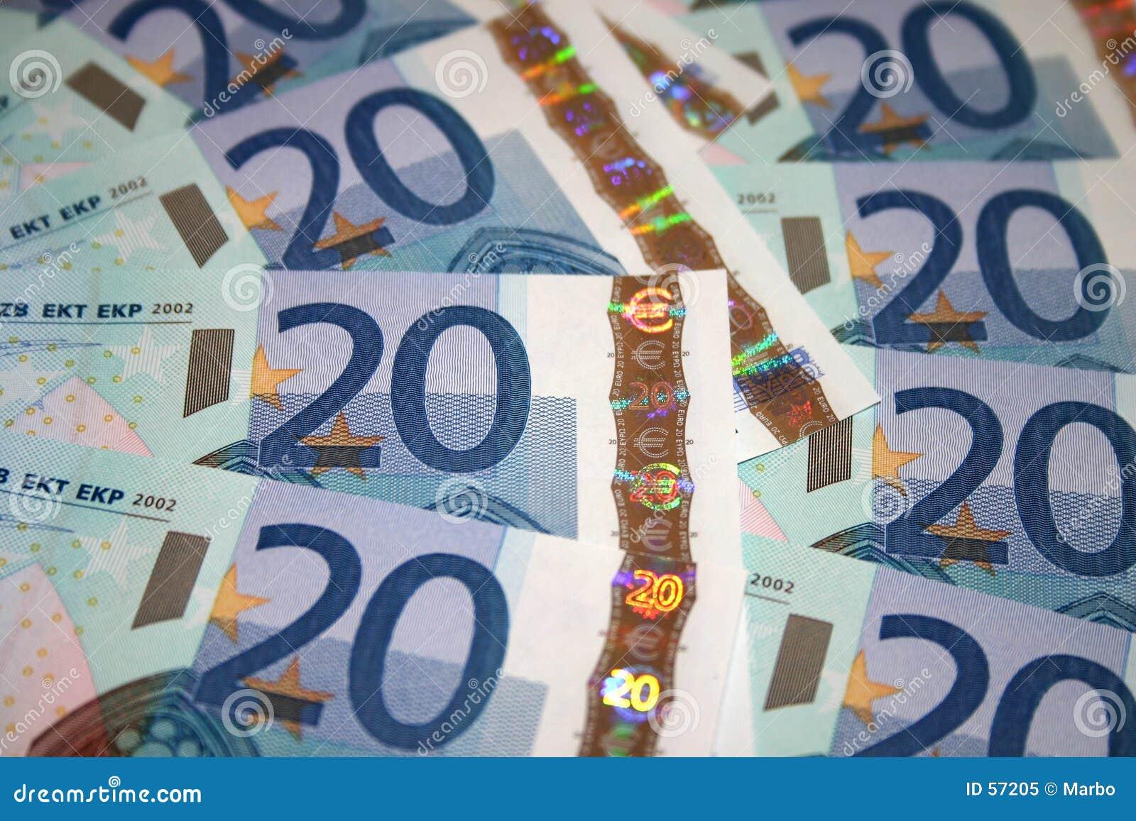 20 euro rachunków notatek.