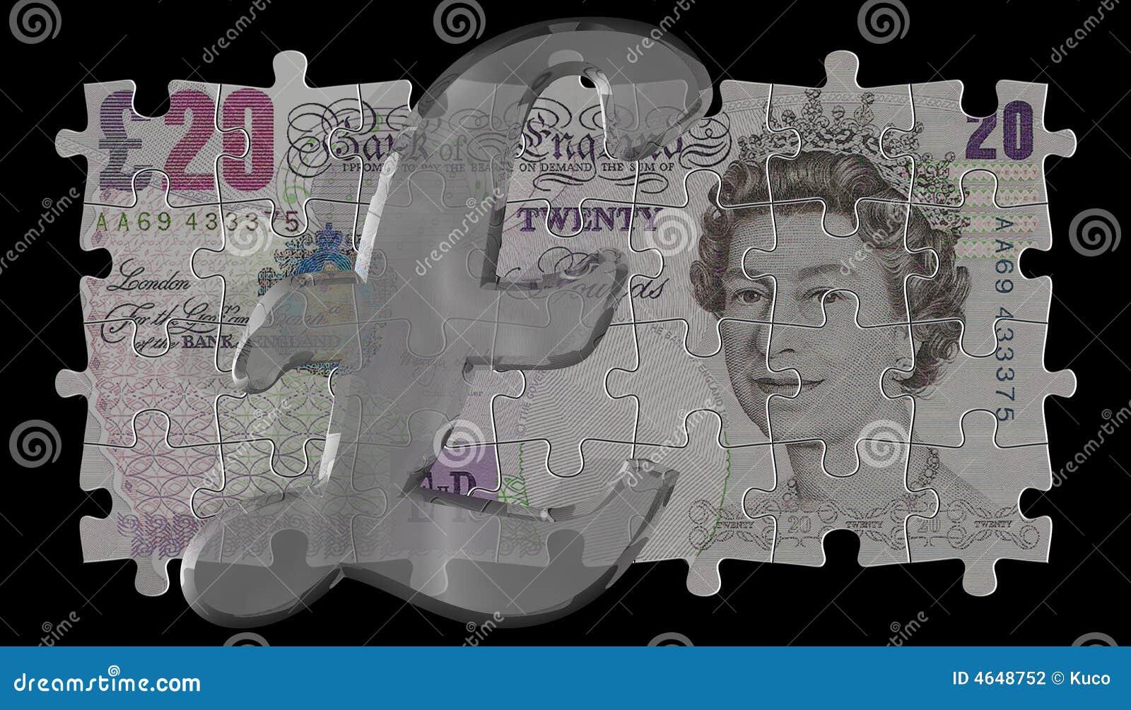 20 libras e símbolo de vidro