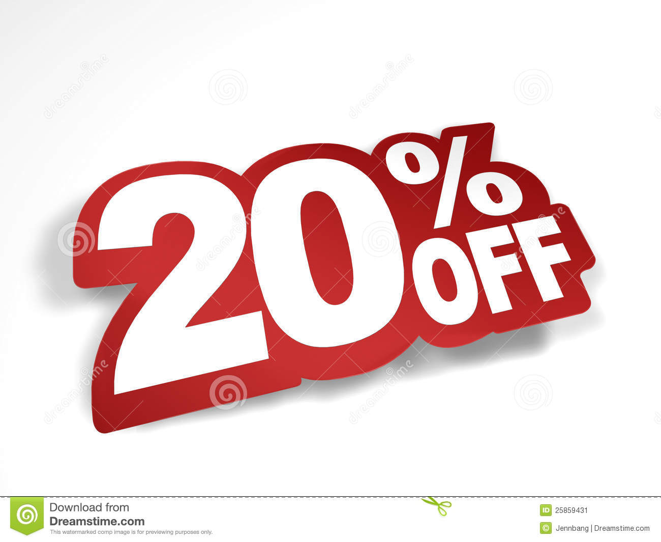 20 percent off discount stock image image 25859431