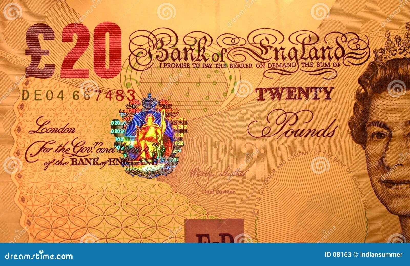 20 Pfund, Nahaufnahme