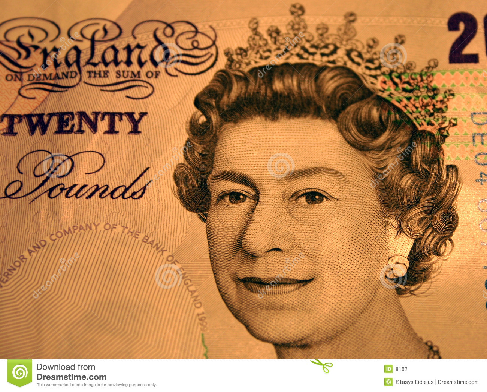 20 Pfund. Portrait der Königin