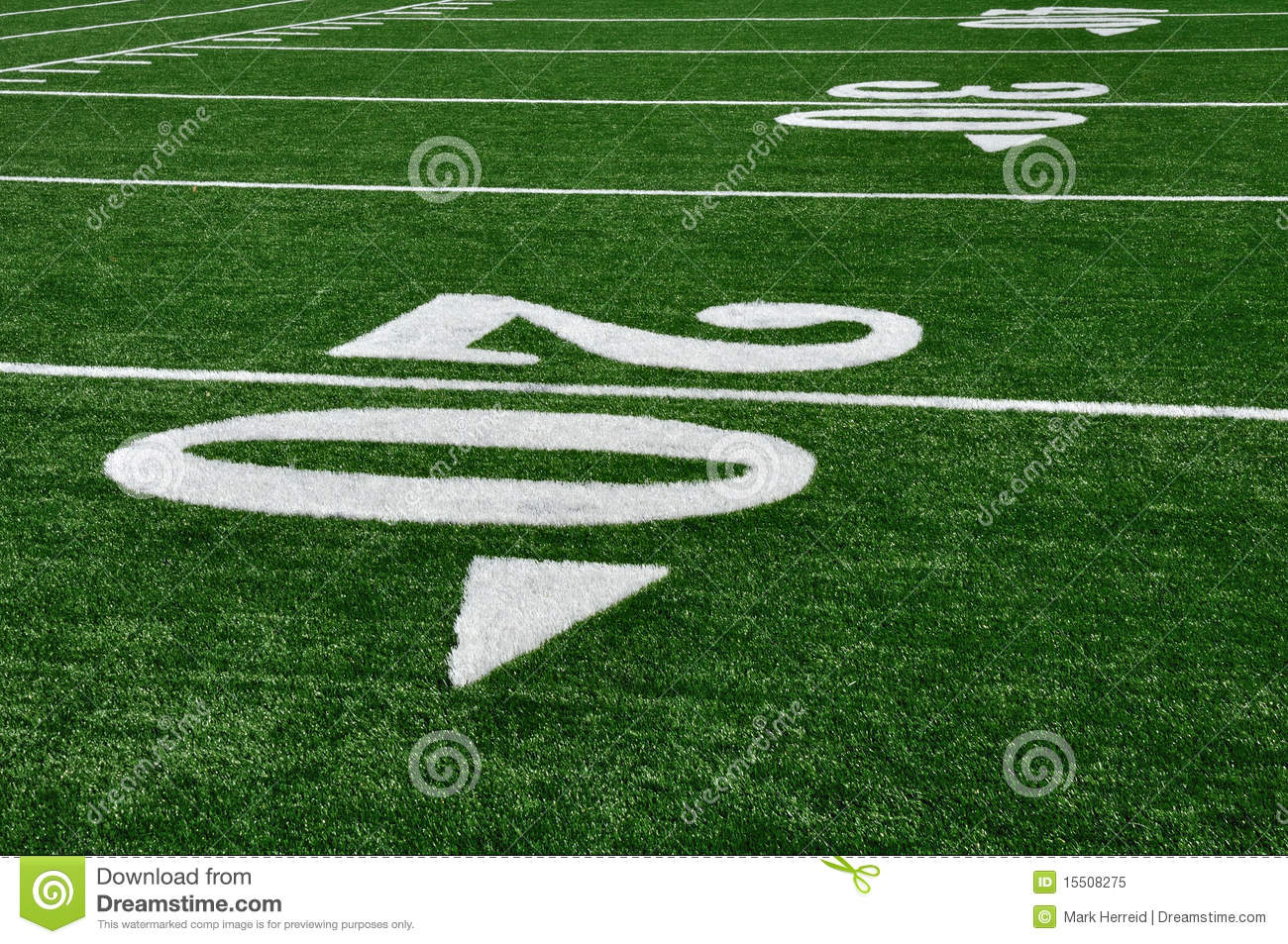 20 yard line on american football field stock image