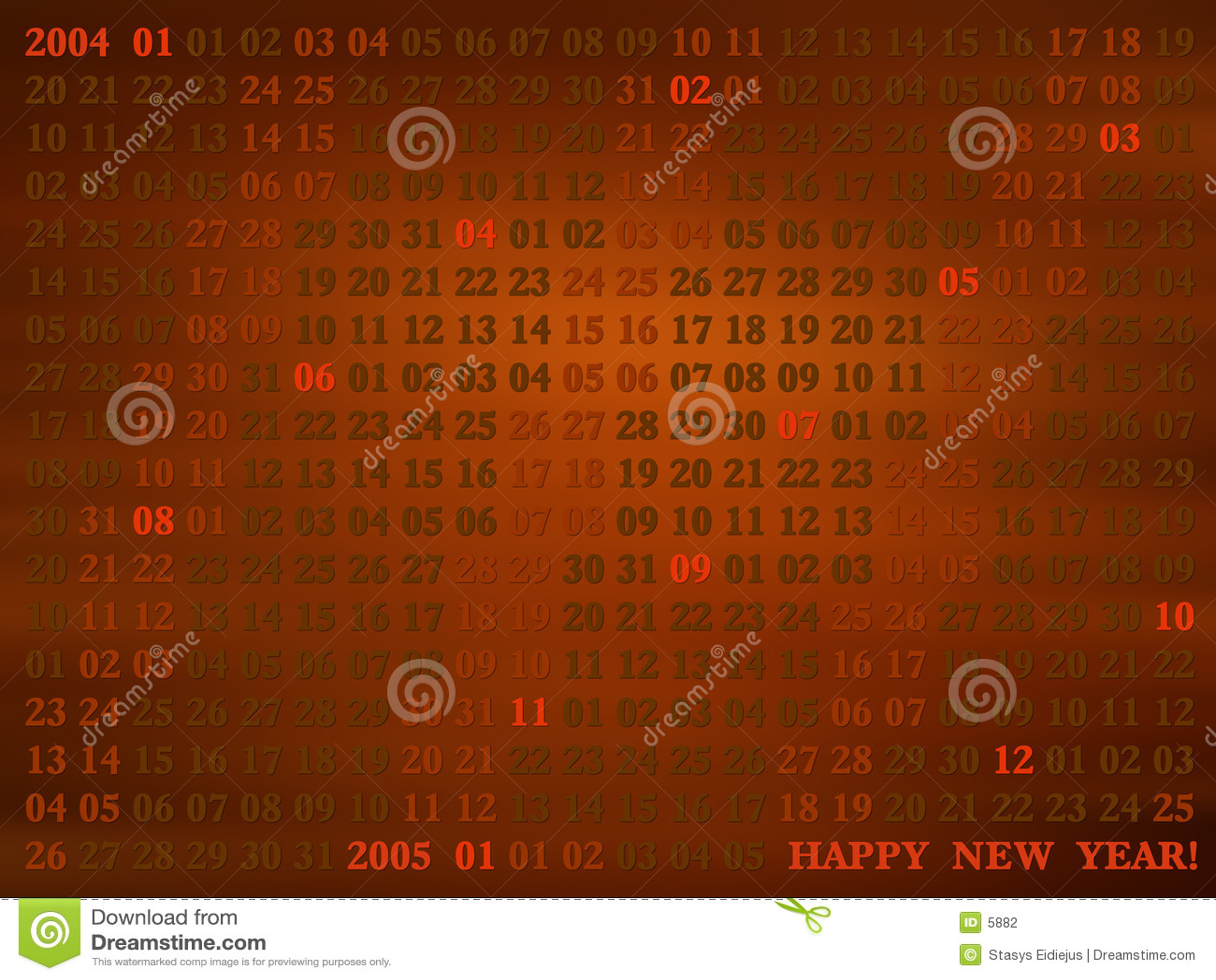 2004 jaar. artistical kalender