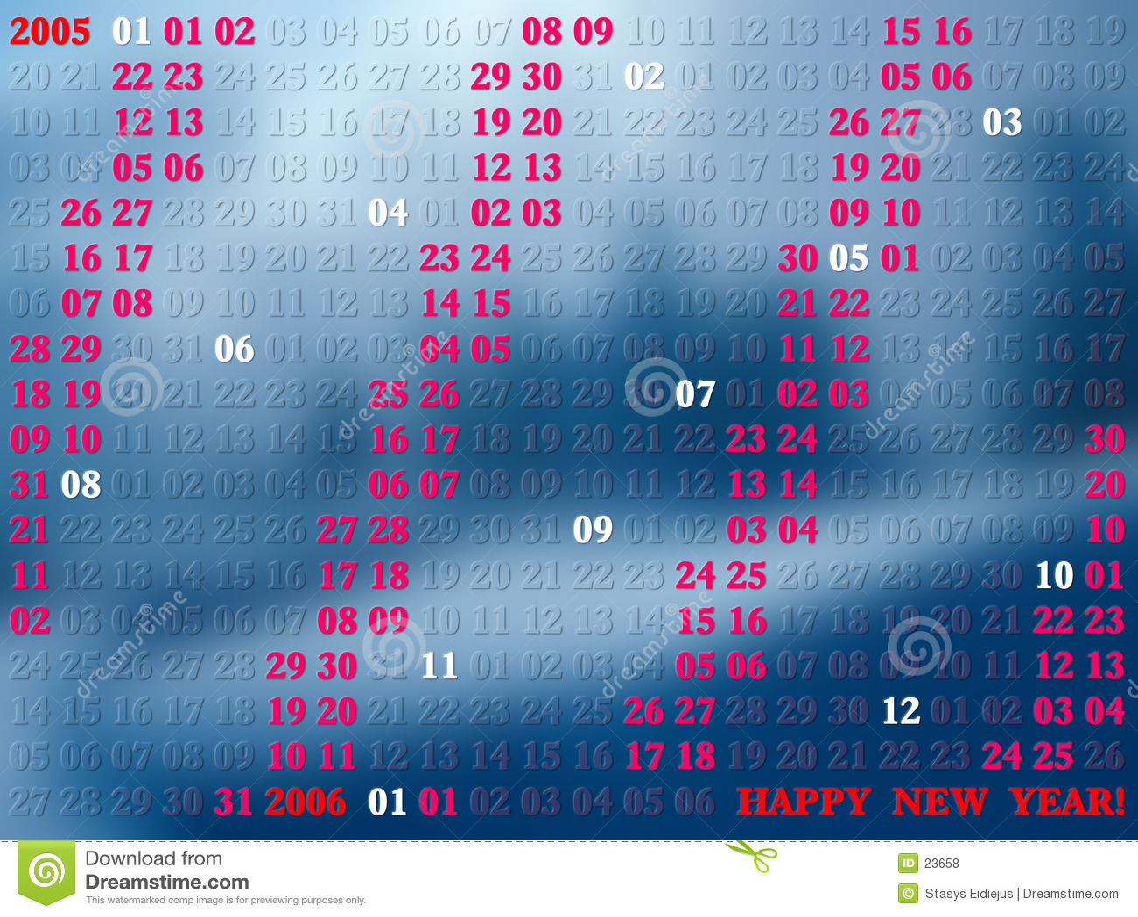 2005 años de calendario artístico