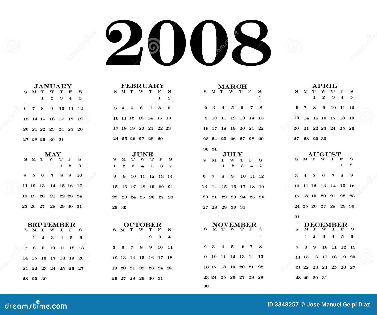 2008 Calendar Royalty Free Stock Photography - Image: 3348257