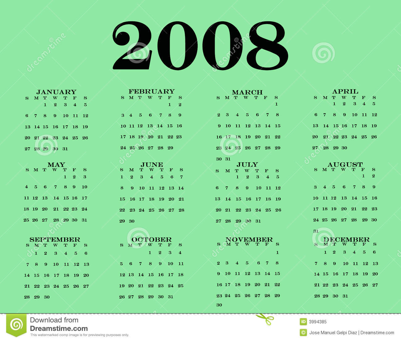 2008 Calendar Royalty Free Stock Photo - Image: 3994385