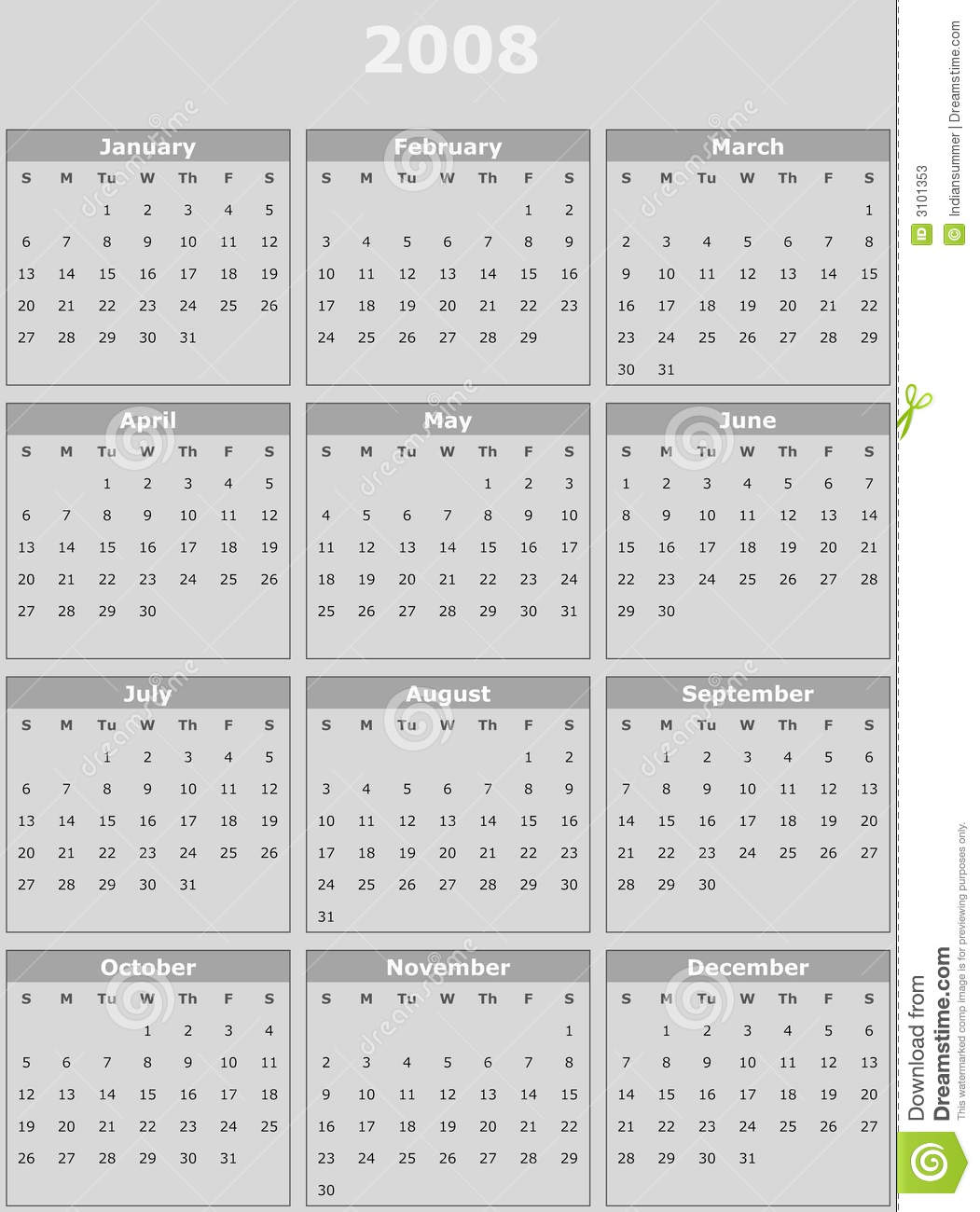 year 2008 calendar on white background royalty free stock photography cartoondealer com 3828425