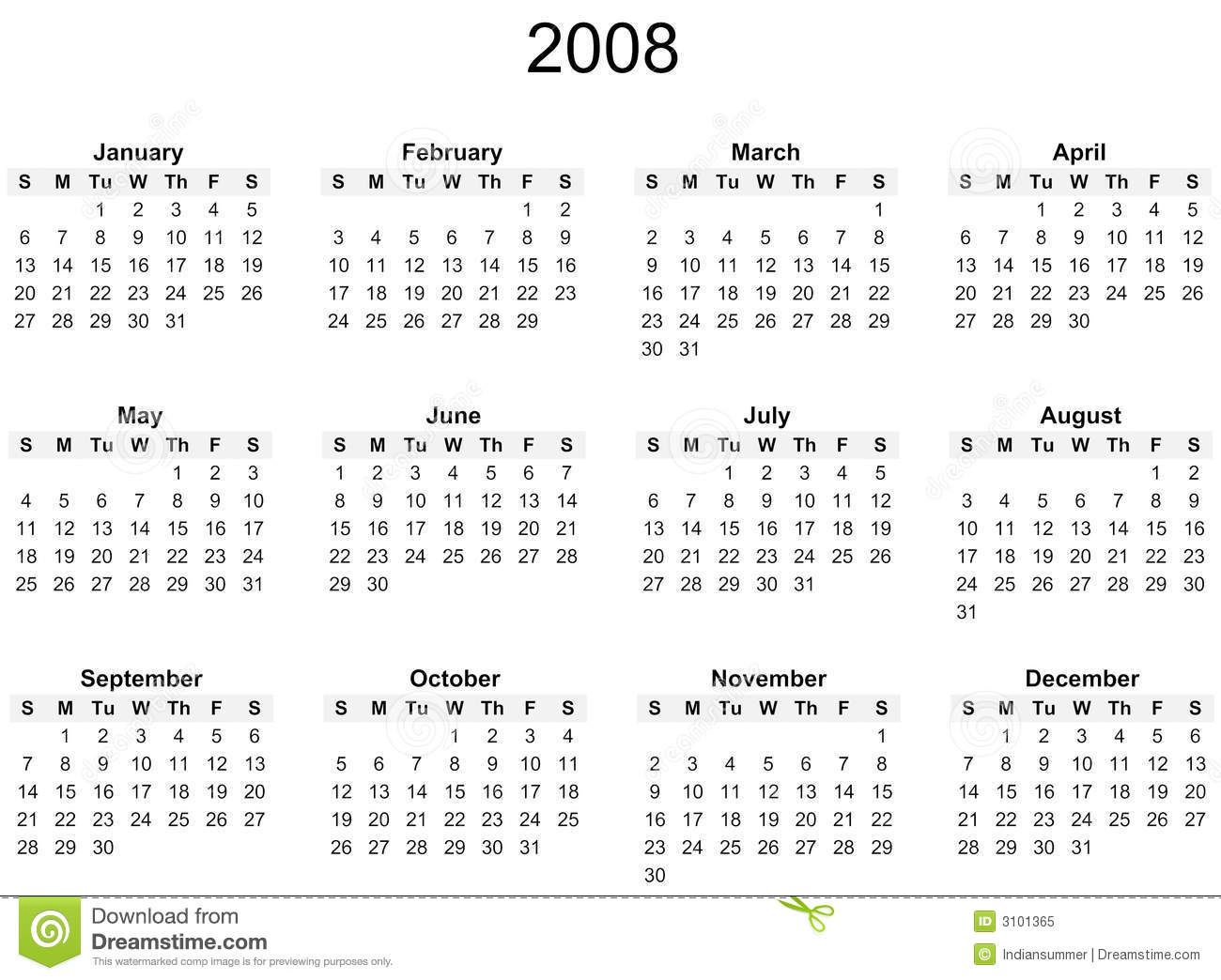 2008 Year calendar, simple black and white against white background.