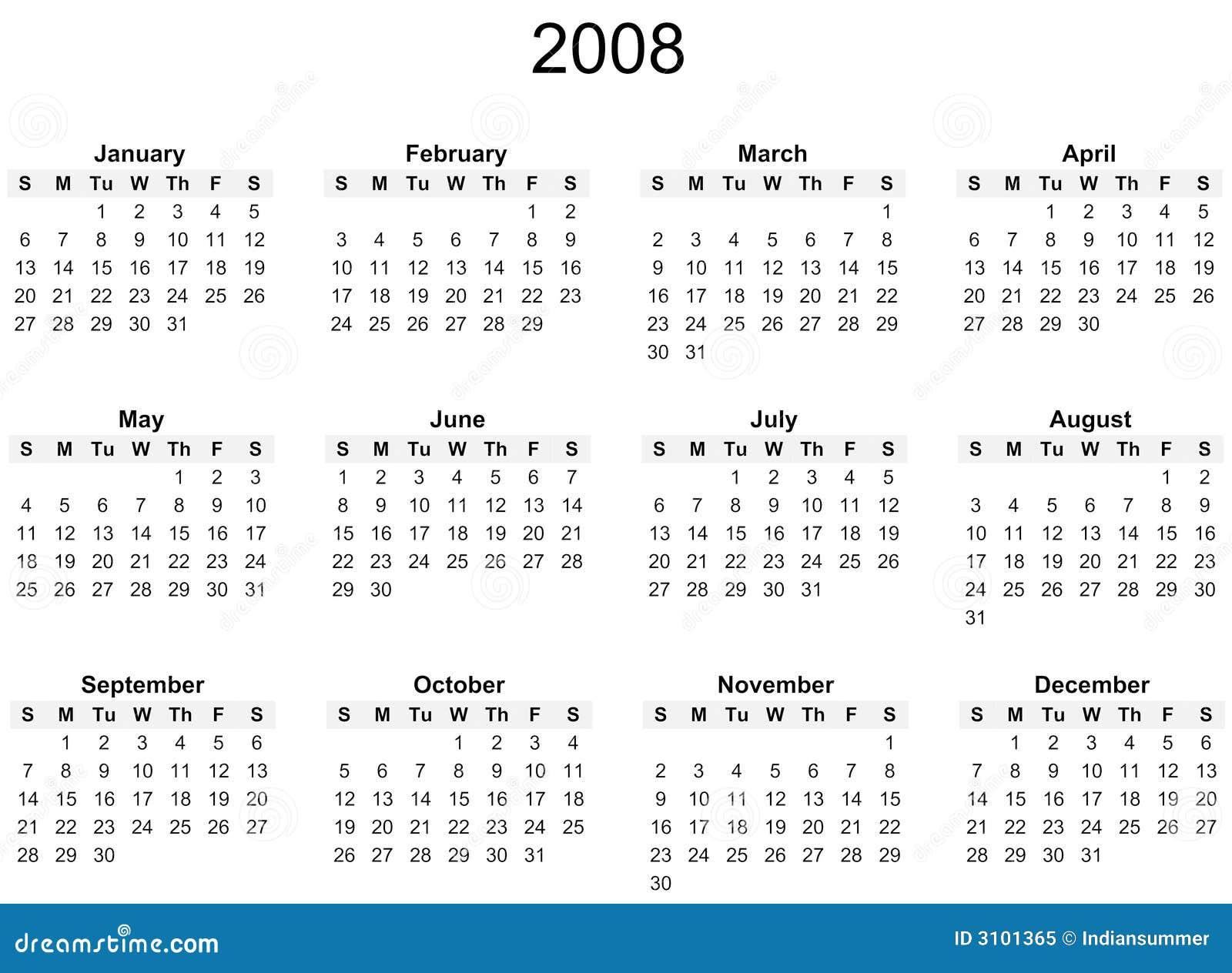 Calendario 2008.2008 Year Calendar Stock Illustration Illustration Of December