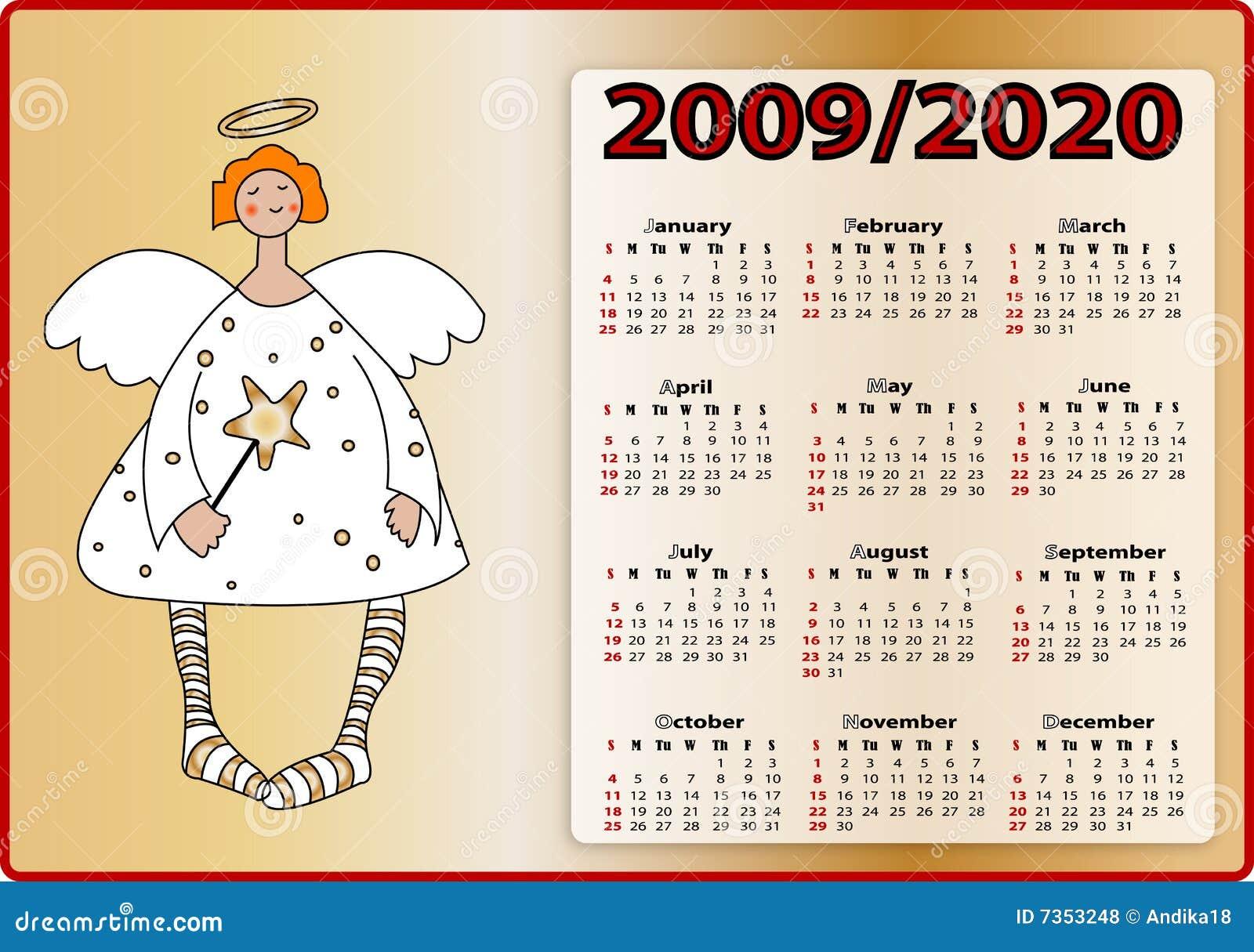 2009 2020个天使背景日历金子.