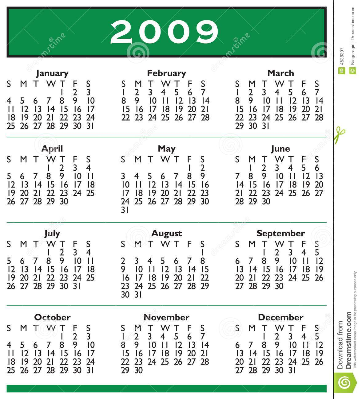 Very simple year 2009 calendar template with simple text and simple ...