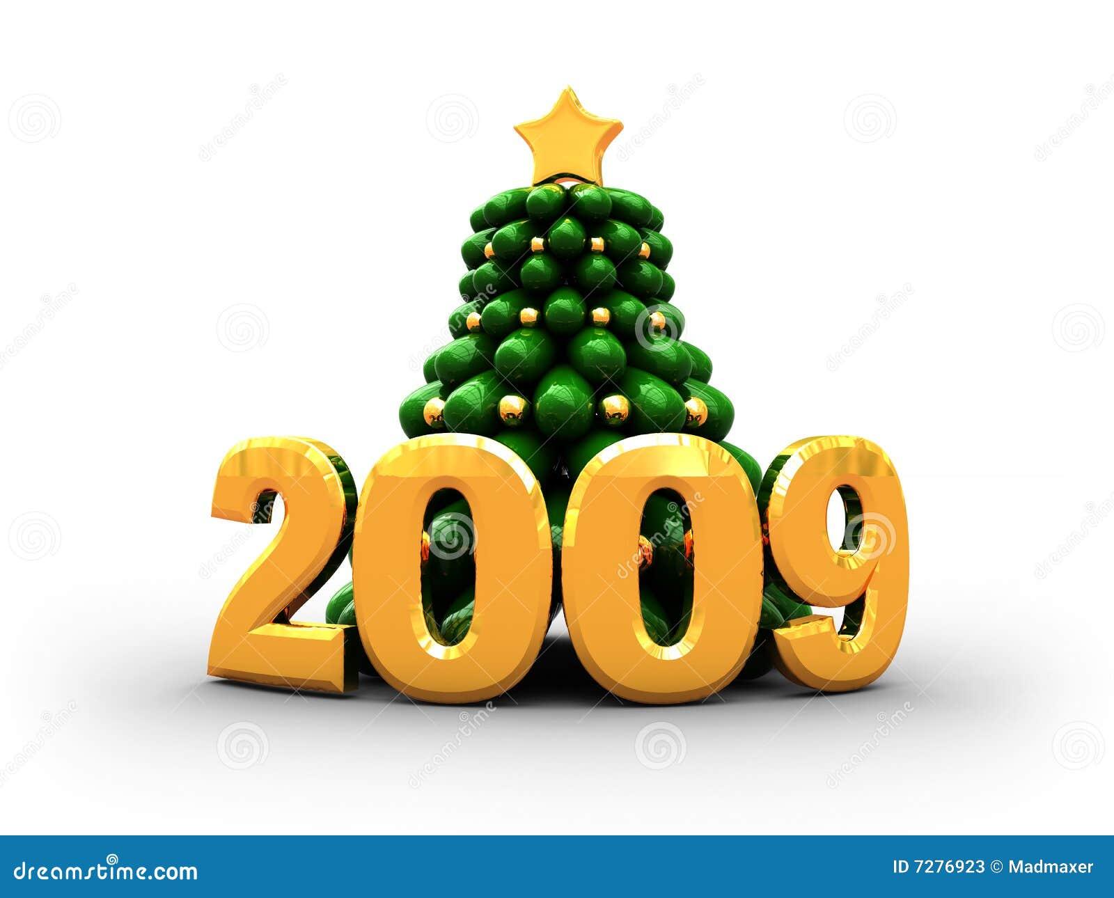 2009 con el árbol de Navidad