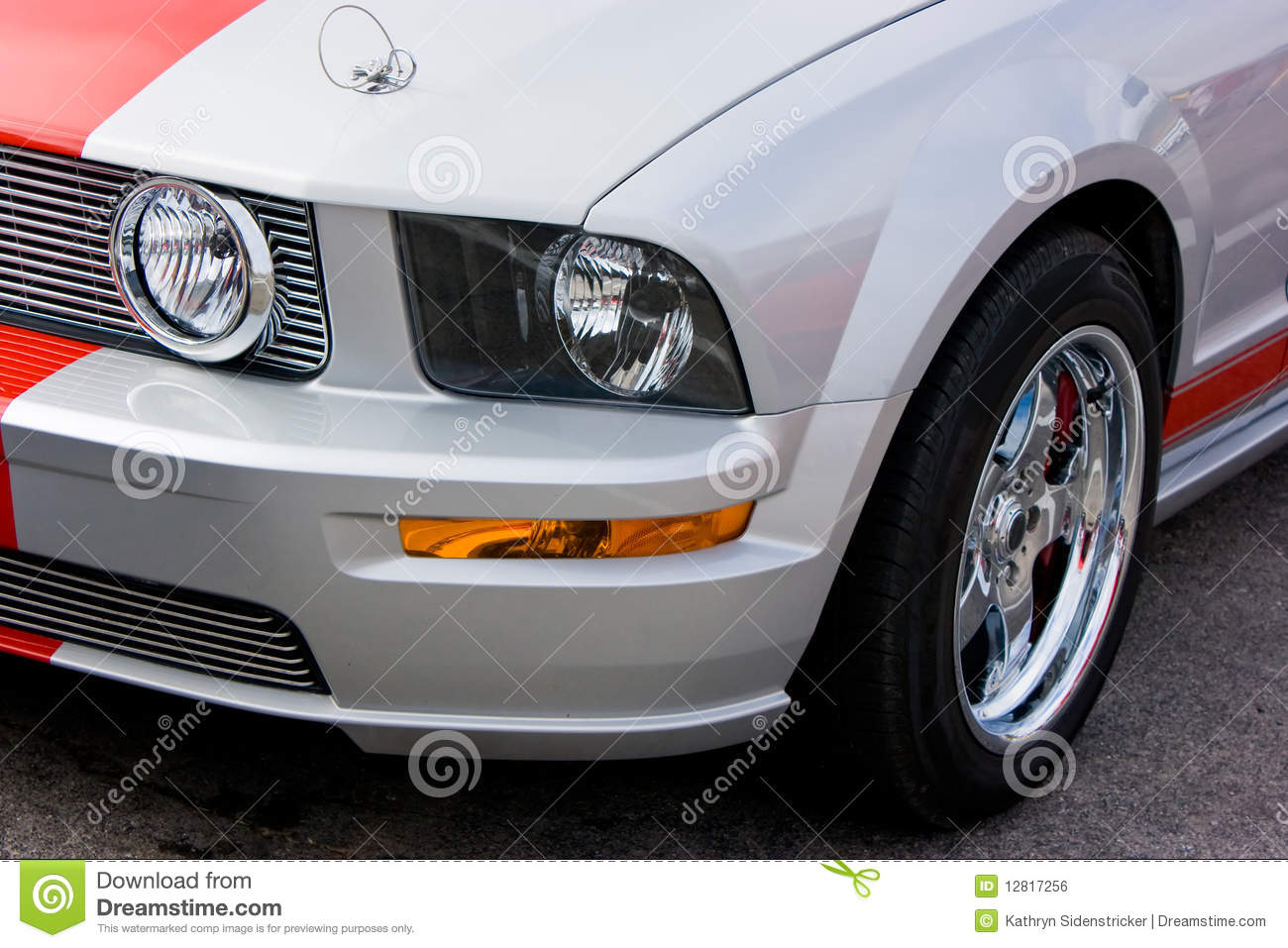 Silver Car Red Racing Stripe