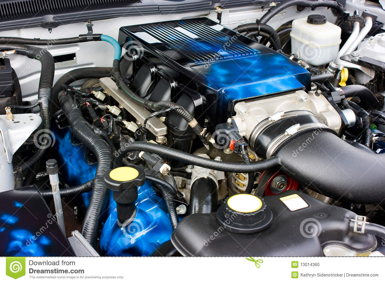 2009 Ford Mustang Saleen Engine Stock Photo