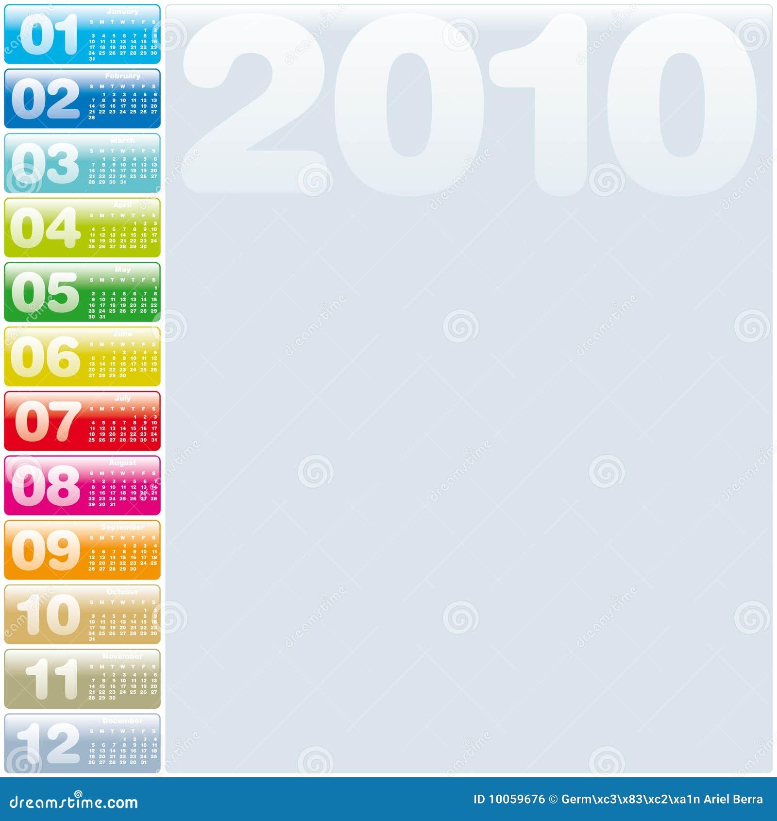 2010 kalendarzowych kolorowi