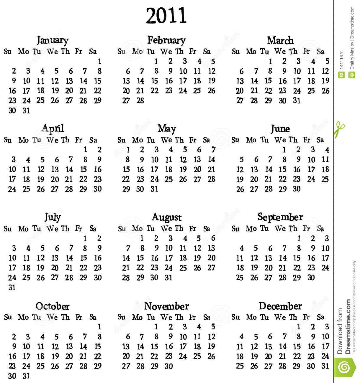 2011 Calendar Template Stock Photo Image 14111670