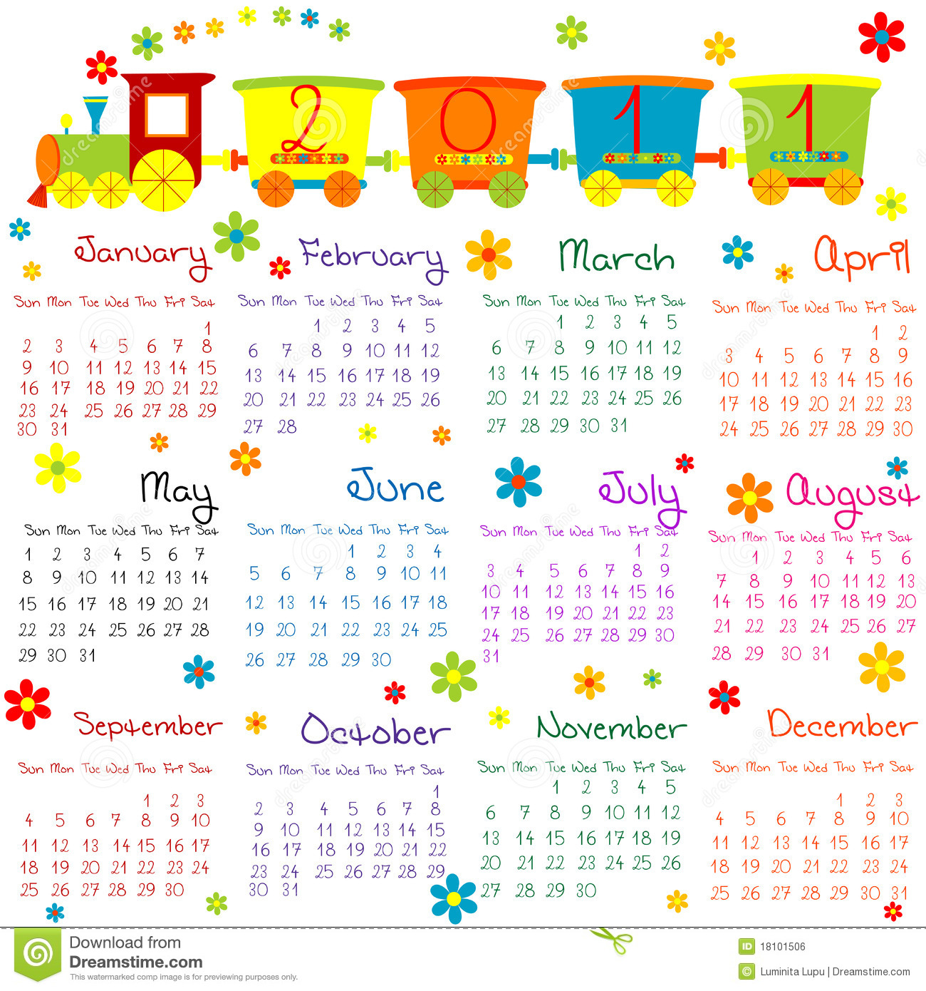 Calendar Drawing For Kids : Calendar with train for kids stock illustration