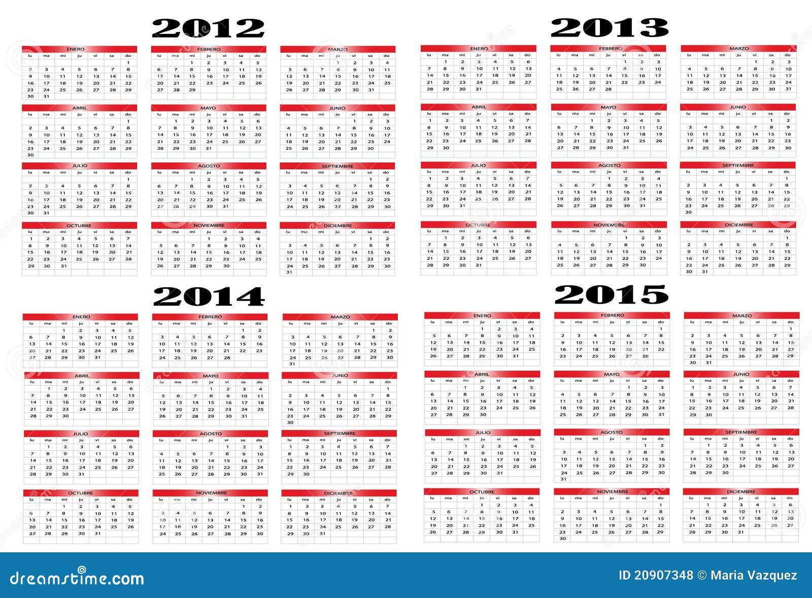 2012 2013 2014 2015 Kalendarzowego Spanish