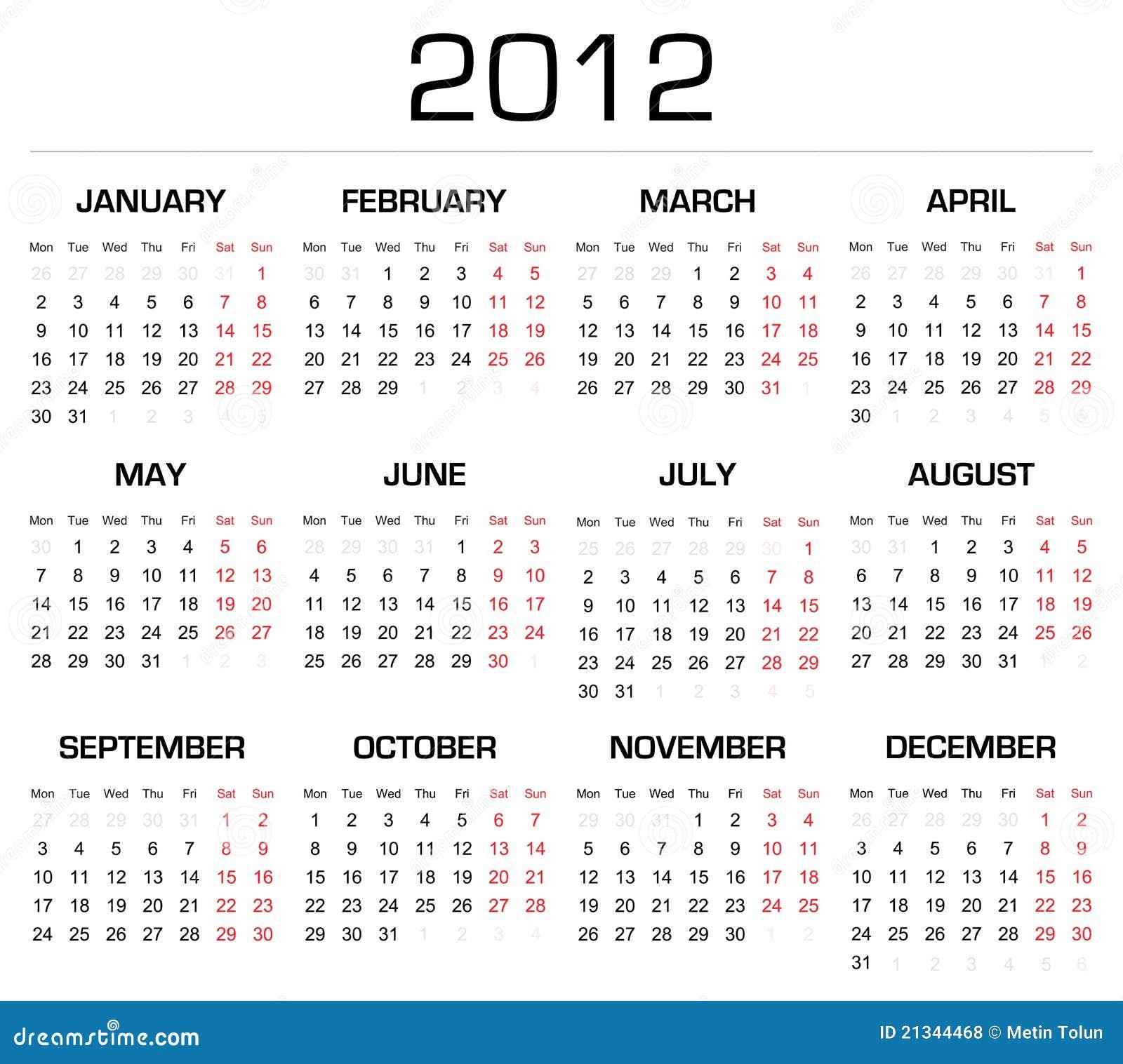 2012 Calender stock vector. Illustration of decoration - 21344468