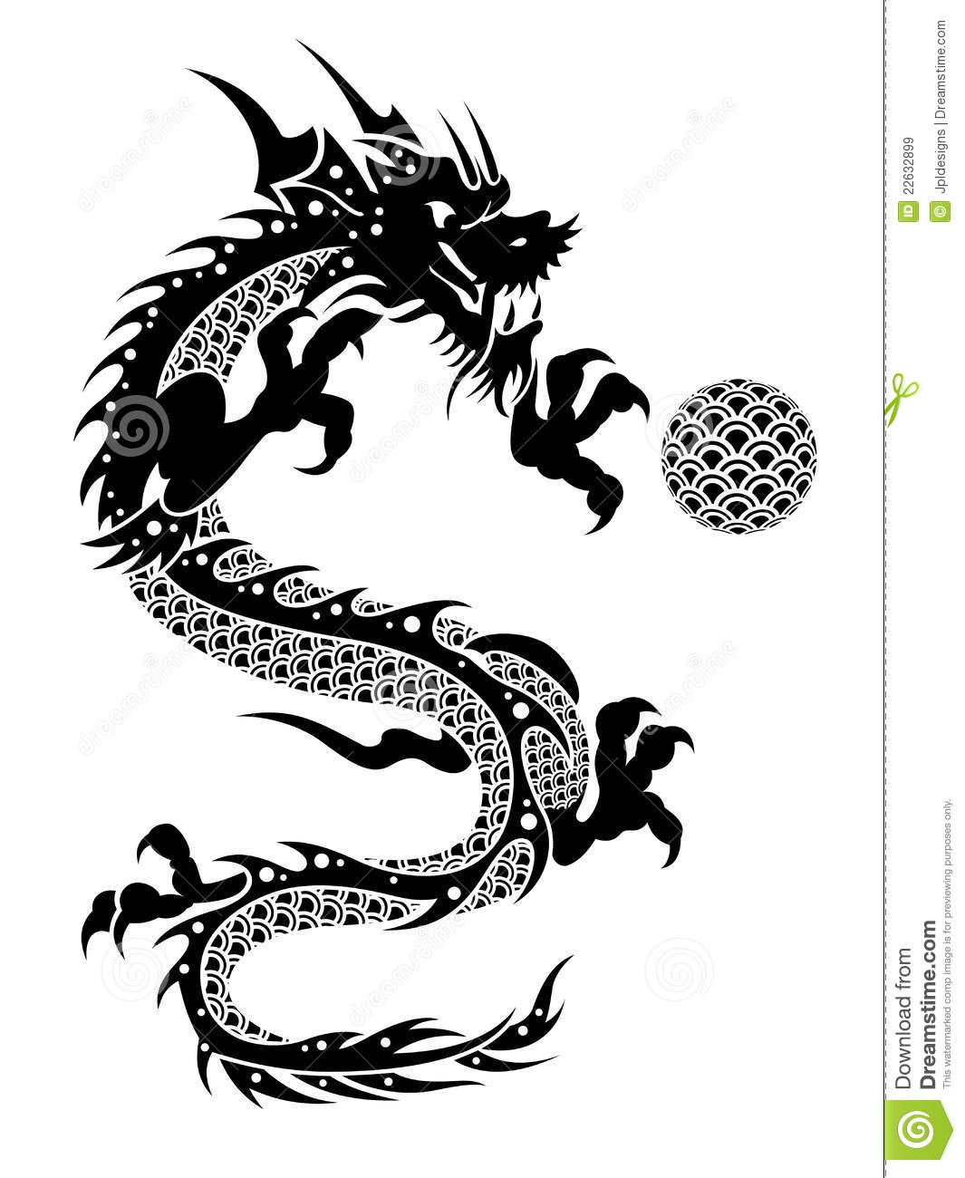 2012 Flying Chinese Dragon With Ball Clipart Stock