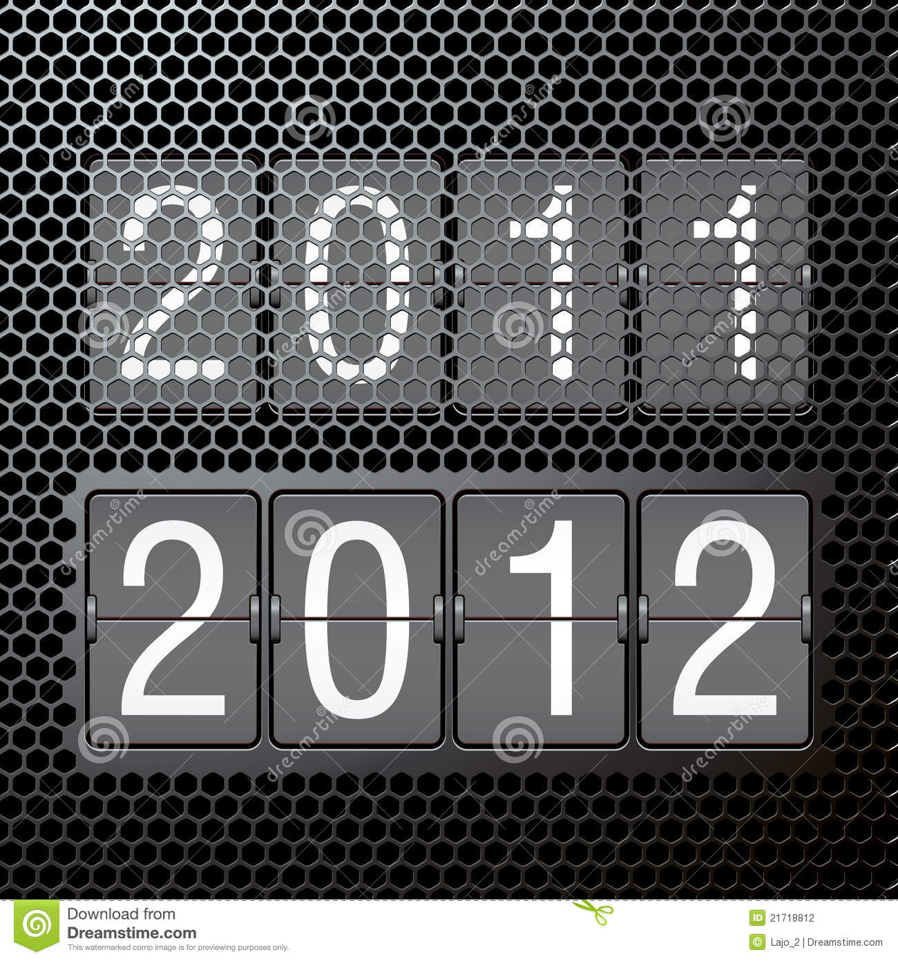 2012 new year on mechanical scoreboard