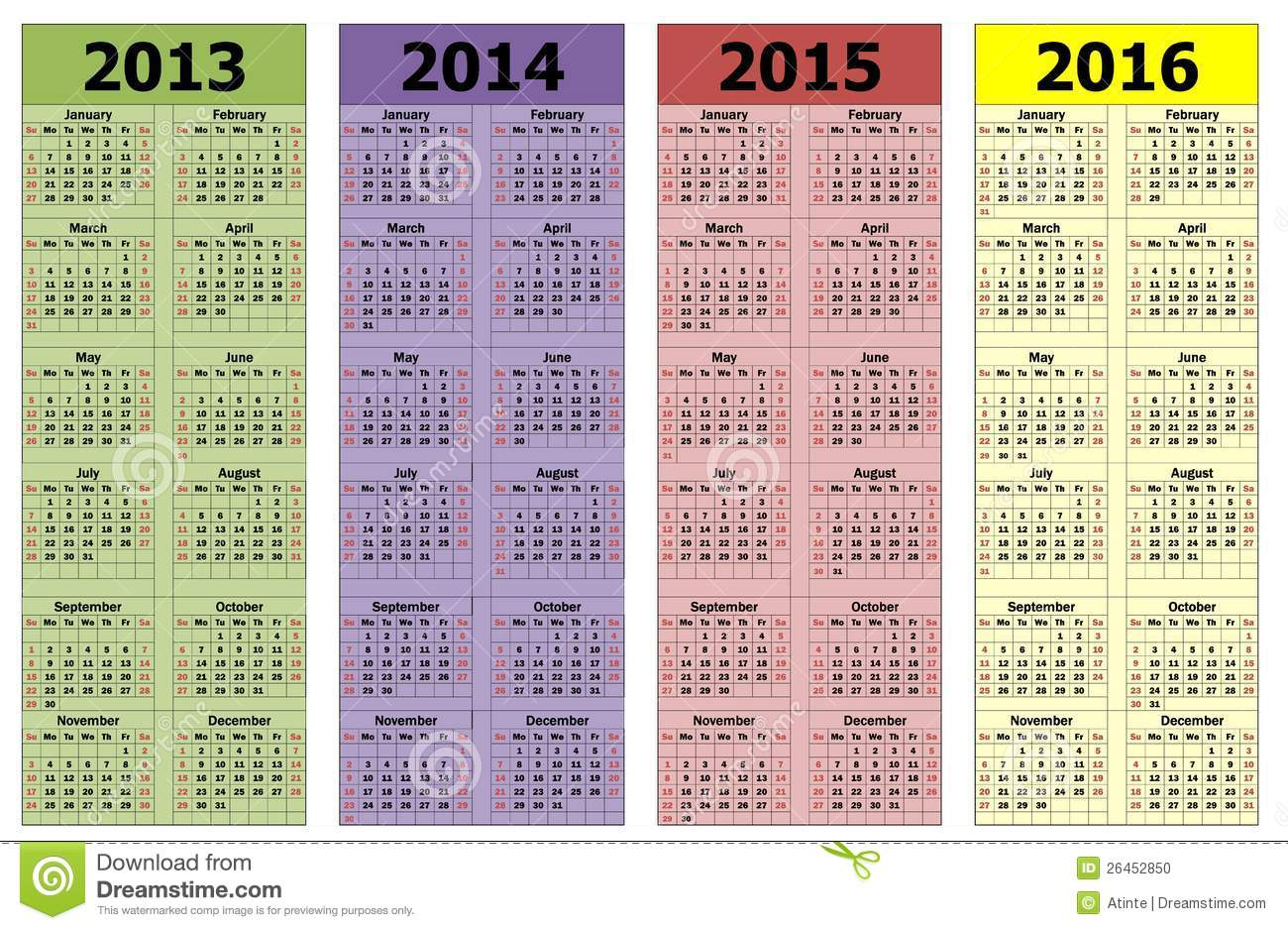 The years 2013-2016 calendars, schedule.