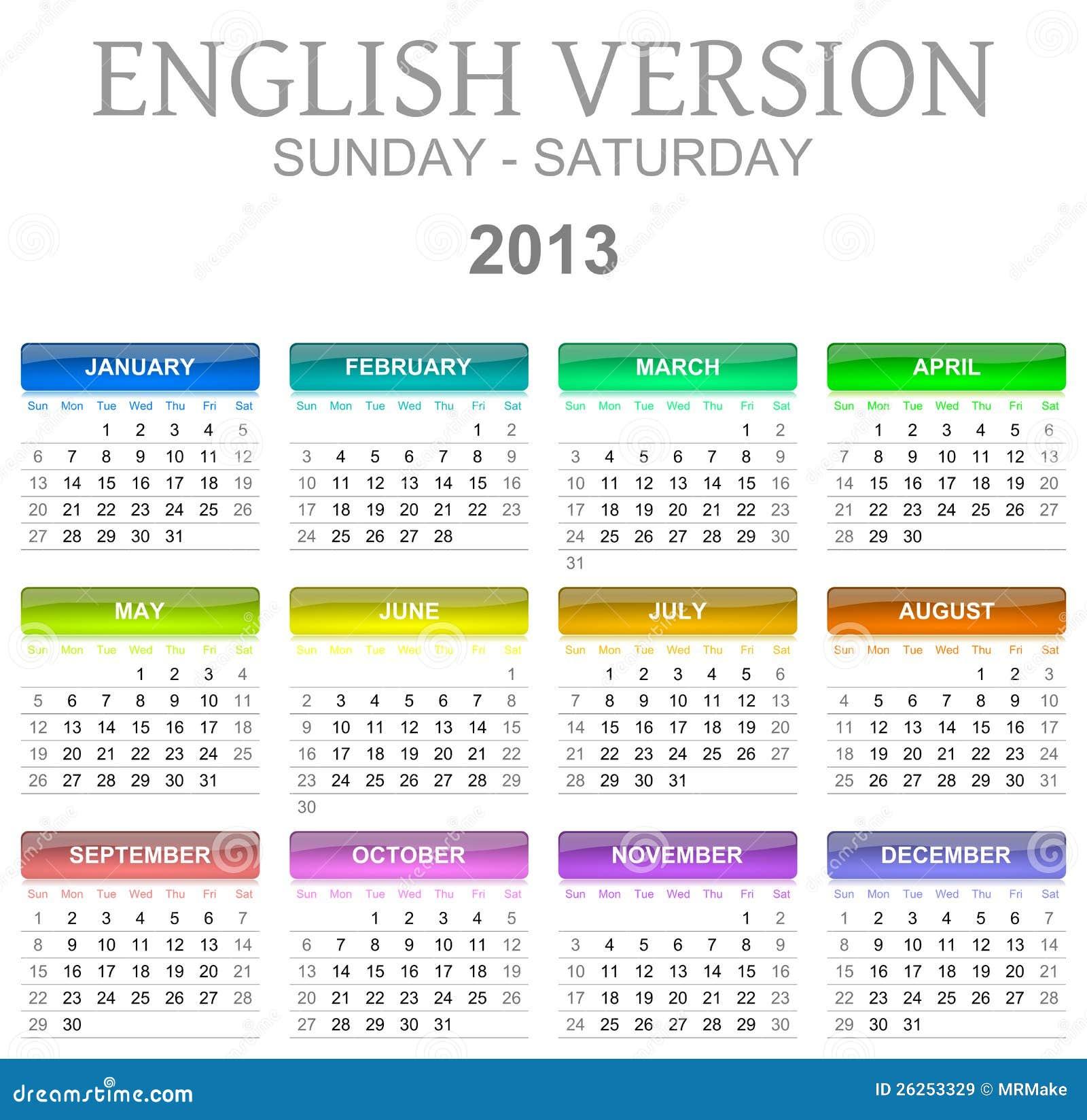 2013 calendar english version sun - sat