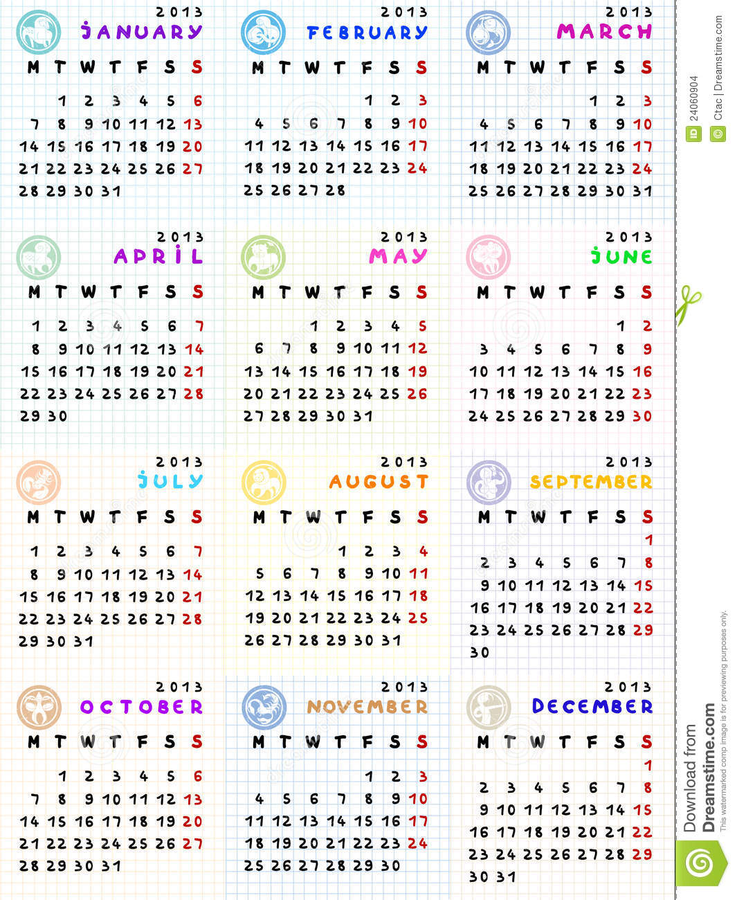 Monthly Calendar Zodiac Signs : Calendar with zodiac signs on a math paper background