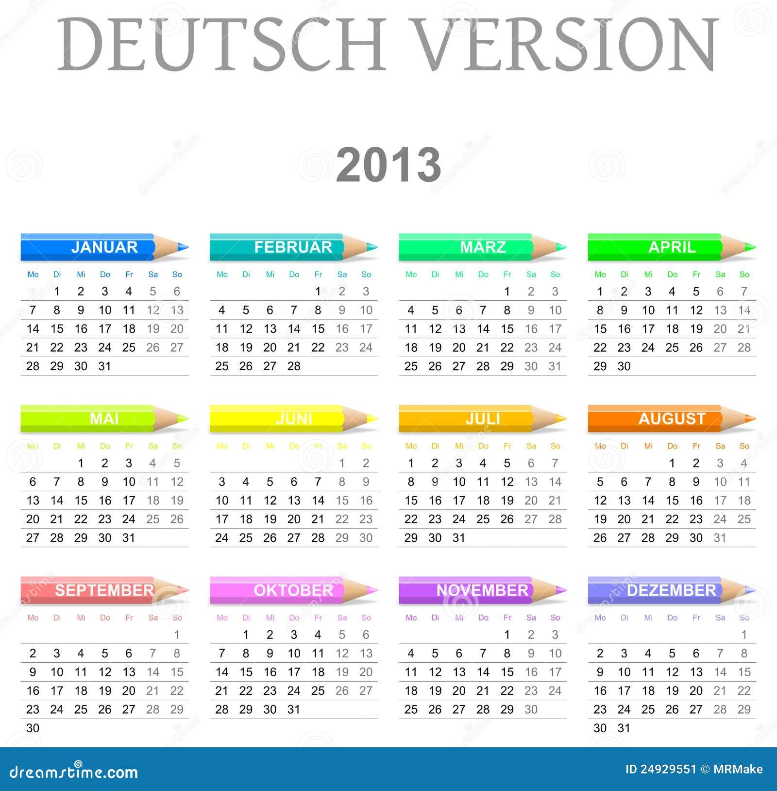 2013 Crayons Calendar Deutsch Version Stock Image Image