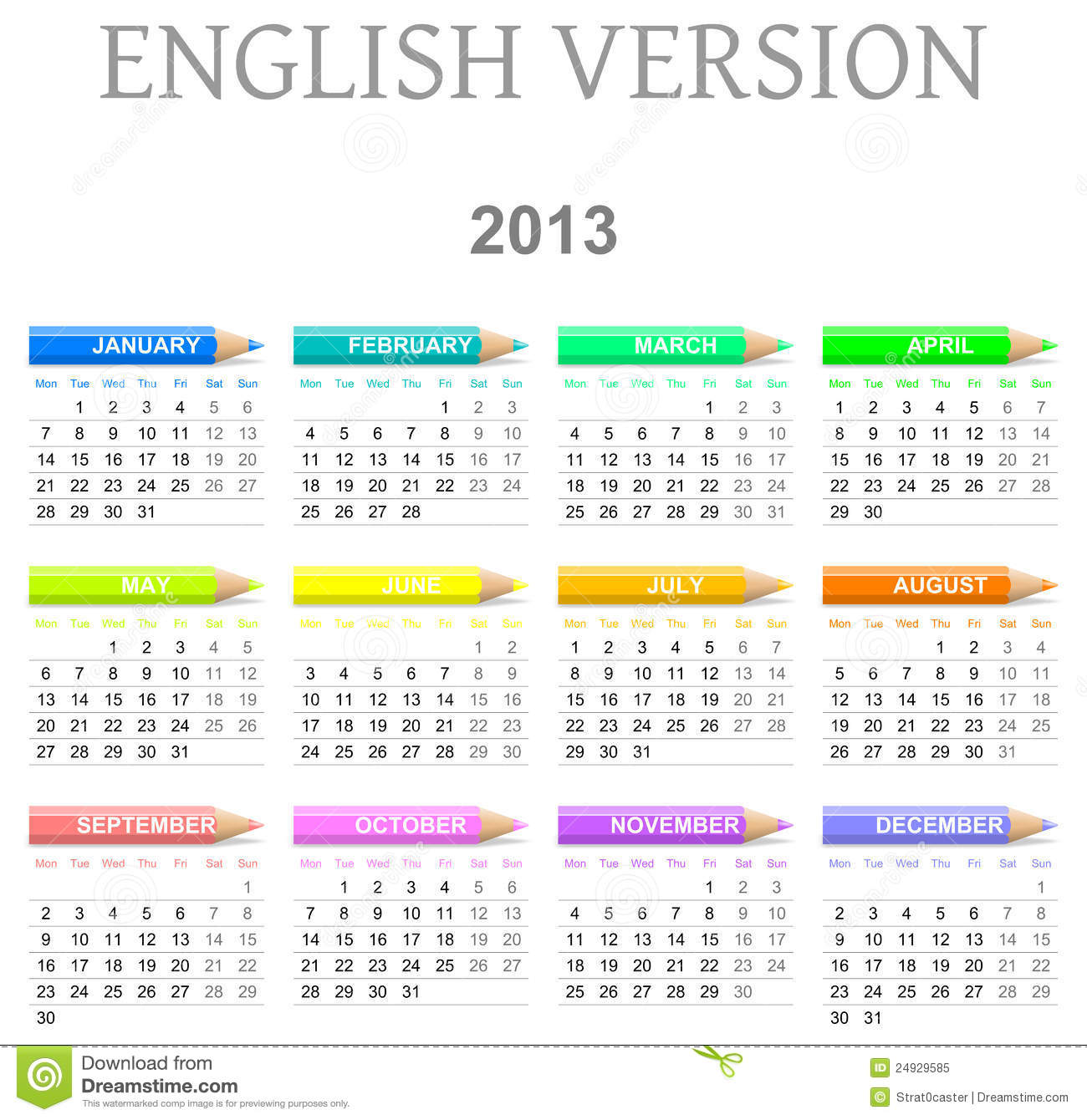 2013 crayons calendar english version