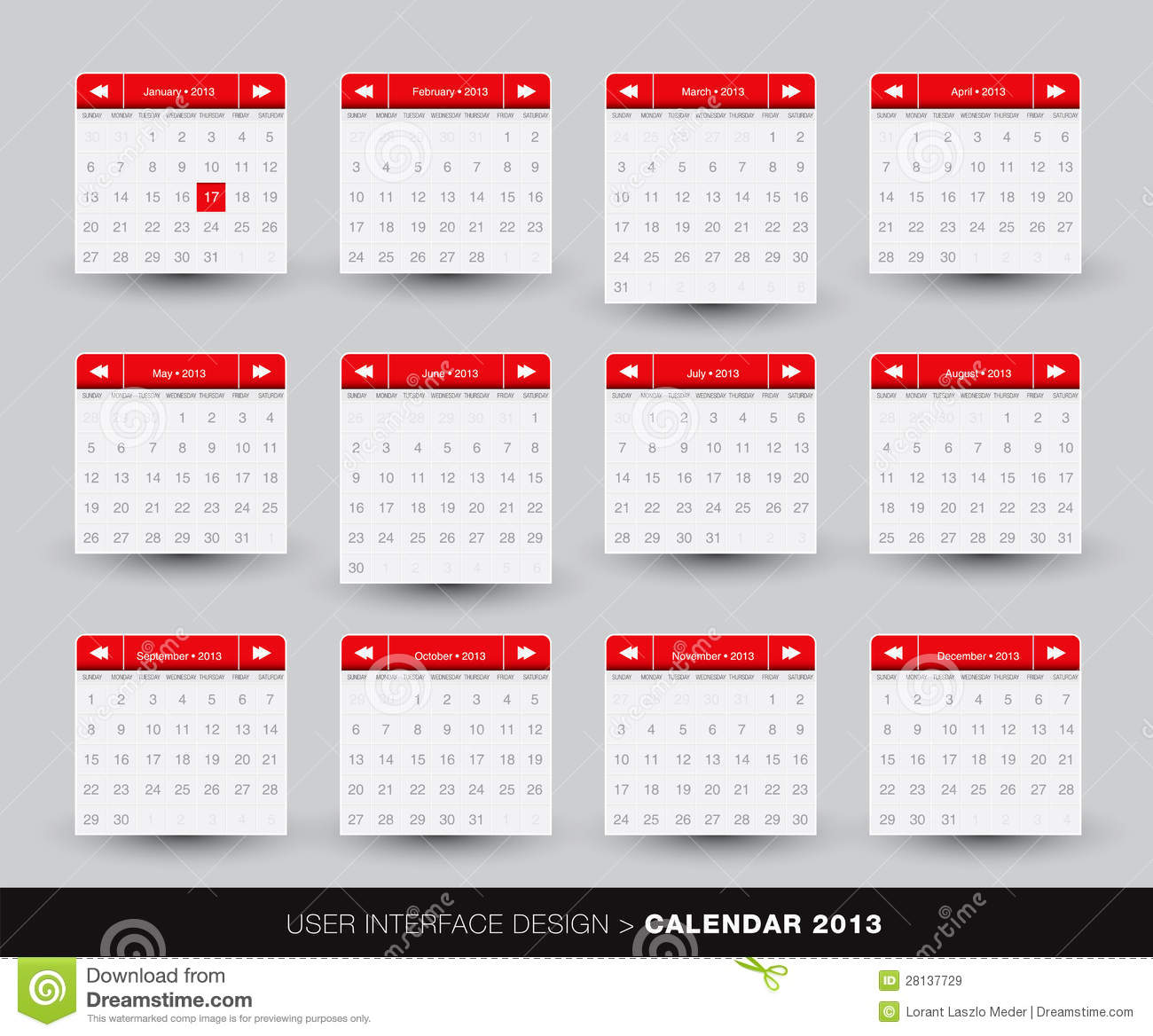 2013 Monthly Calendar Design For Mobile Phone Royalty Free
