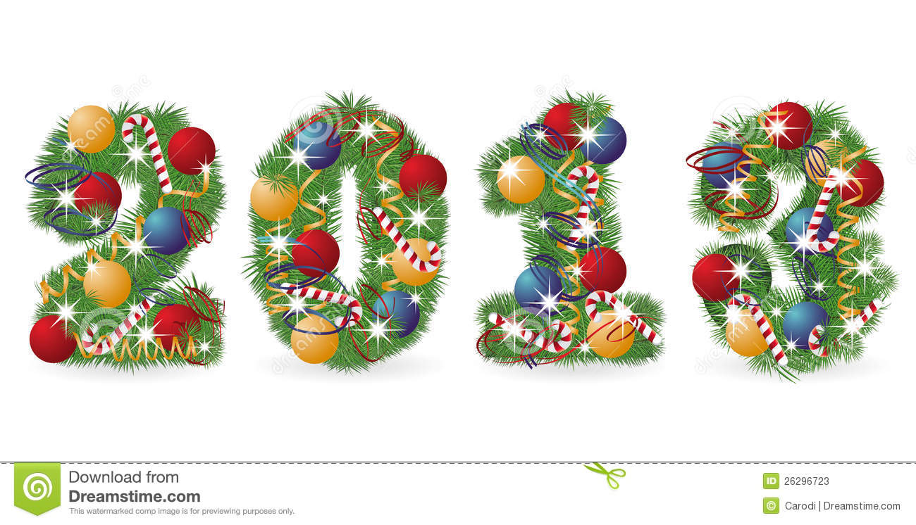 2013 Tree Font With Christmas Ornaments Stock Vector