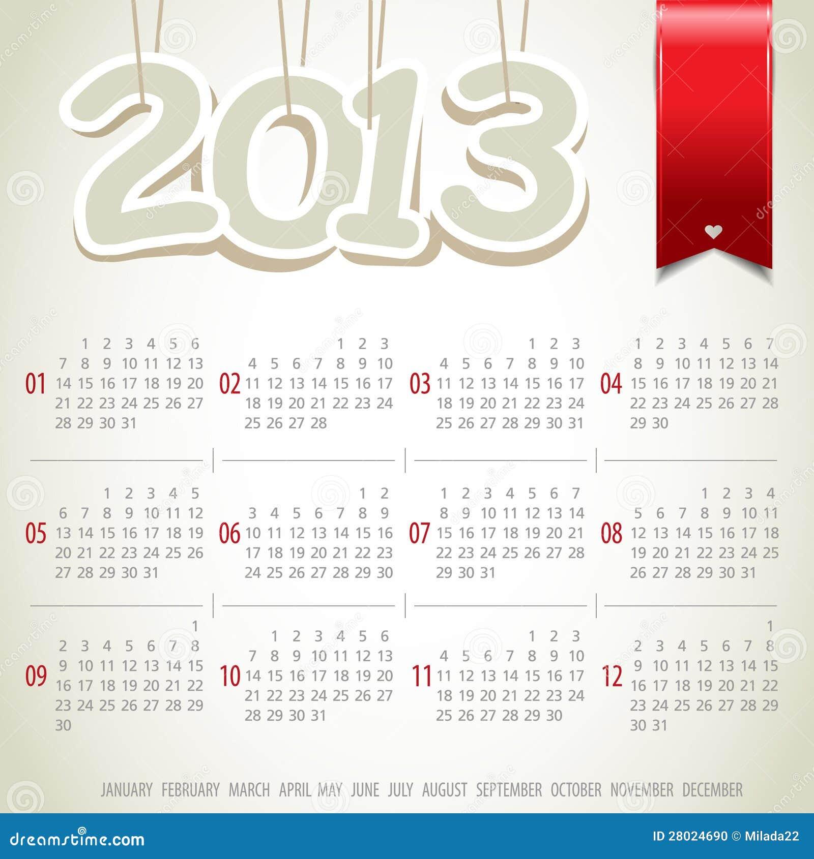 Calendar Ribbon Design : Year calendar with ribbon stock photo image