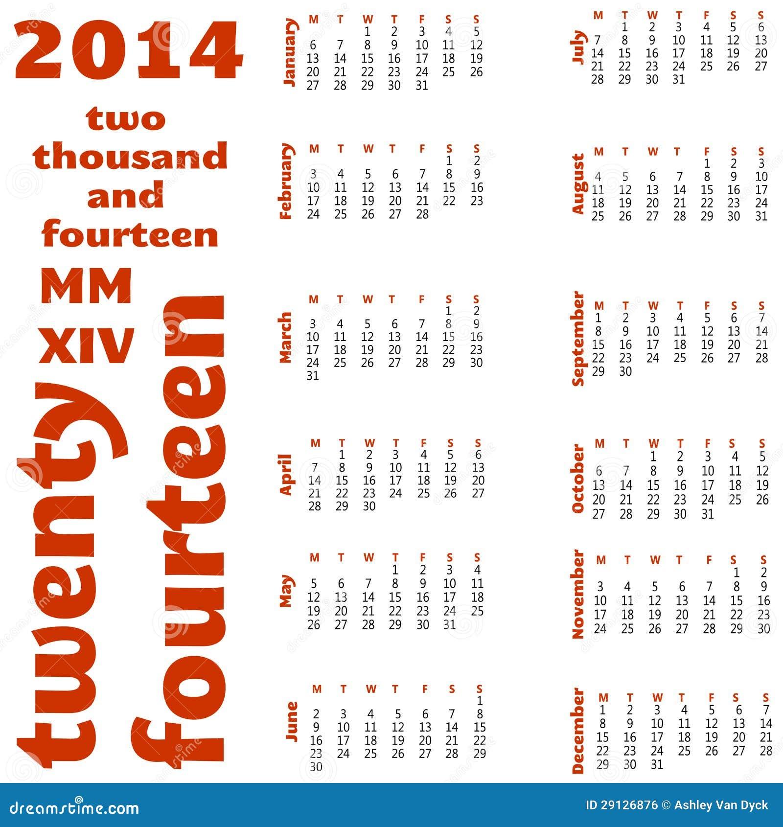 2014 12 month calendar stock vector illustration of months 29126876
