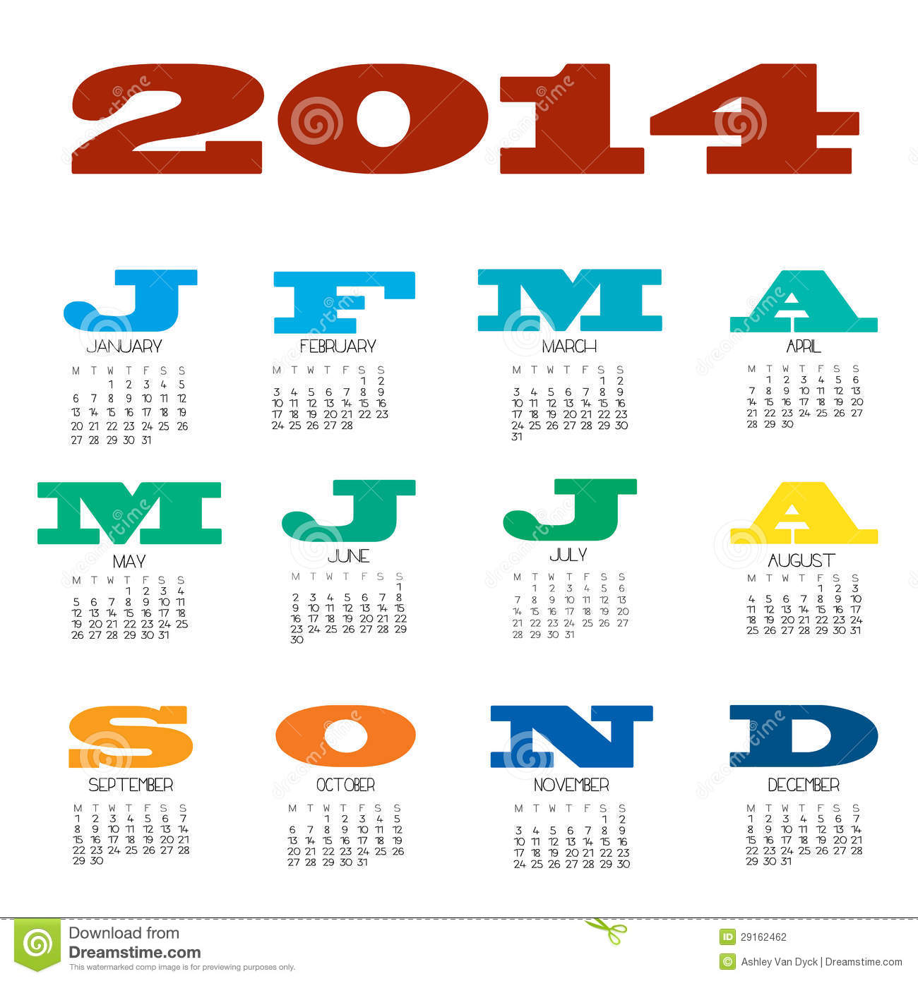2014 12 Month Calendar Stock Photography - Image: 29162462