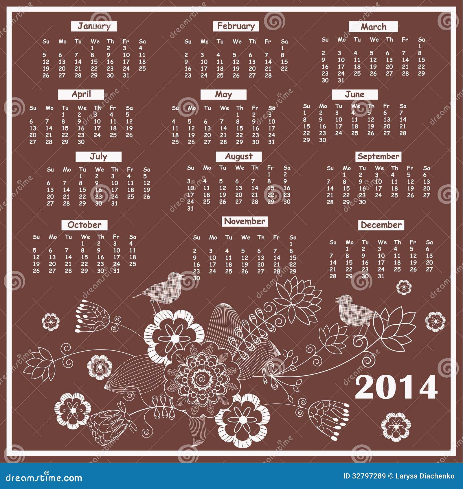 典雅的花卉日历2014年图片