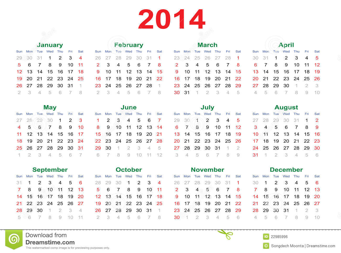 Simple Calendar for 2014, an illustration. By Songdech Moonta .