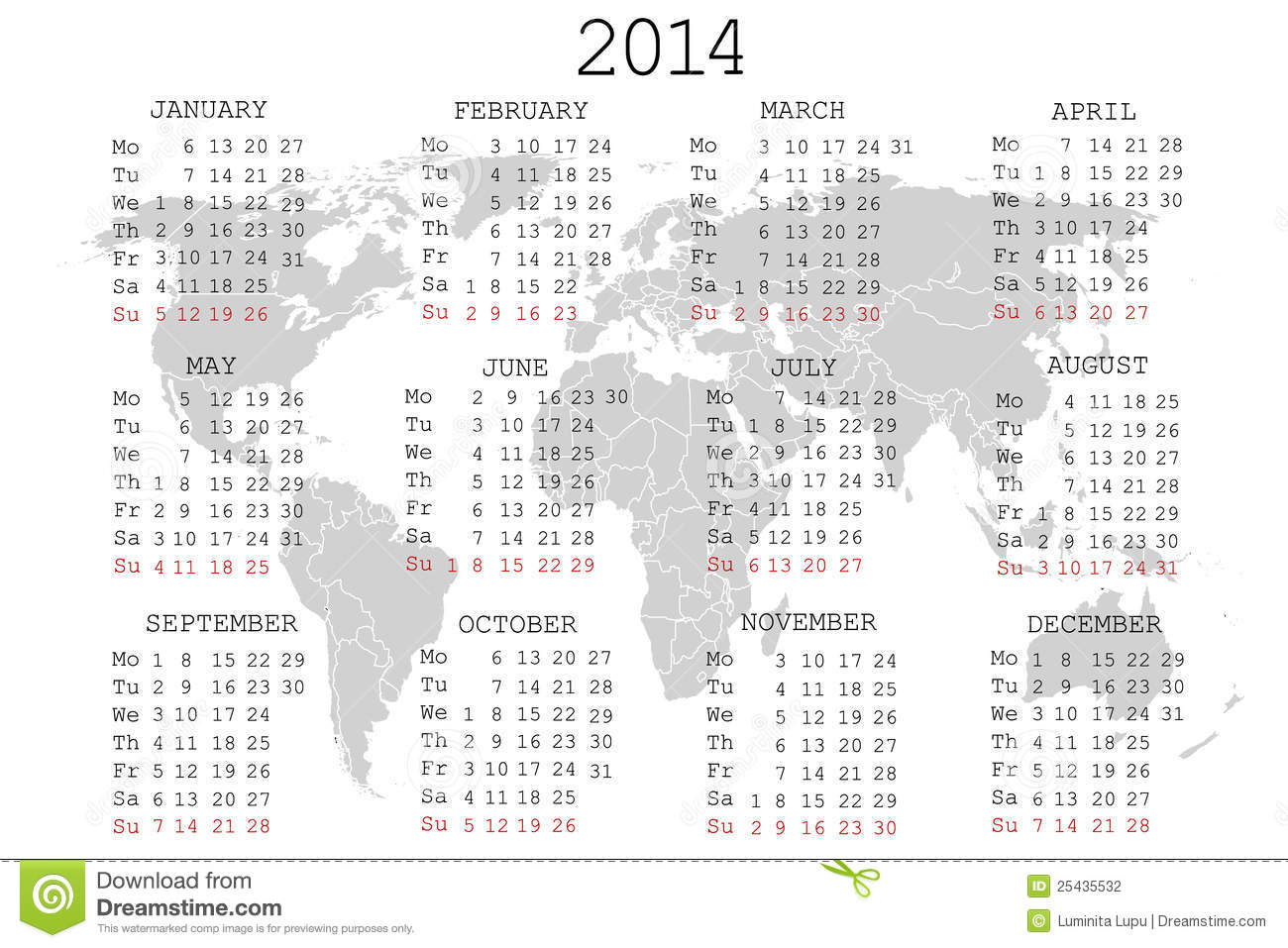 2014 Calendar With World Map Stock Vector Image 25435532