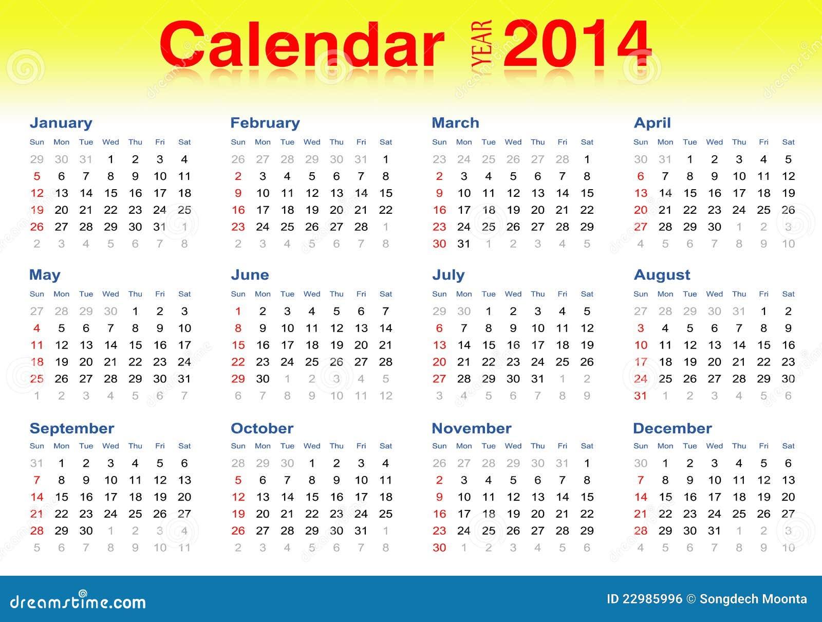 2014 Calendario, Ilustrador Del Vector Imagen de archivo libre de ...