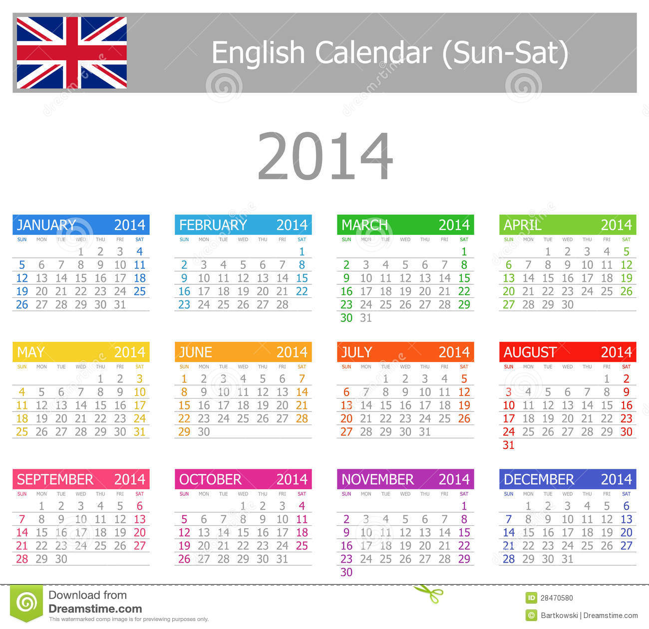 2014 English Type-1 Calendar Sun-Sat on white background.