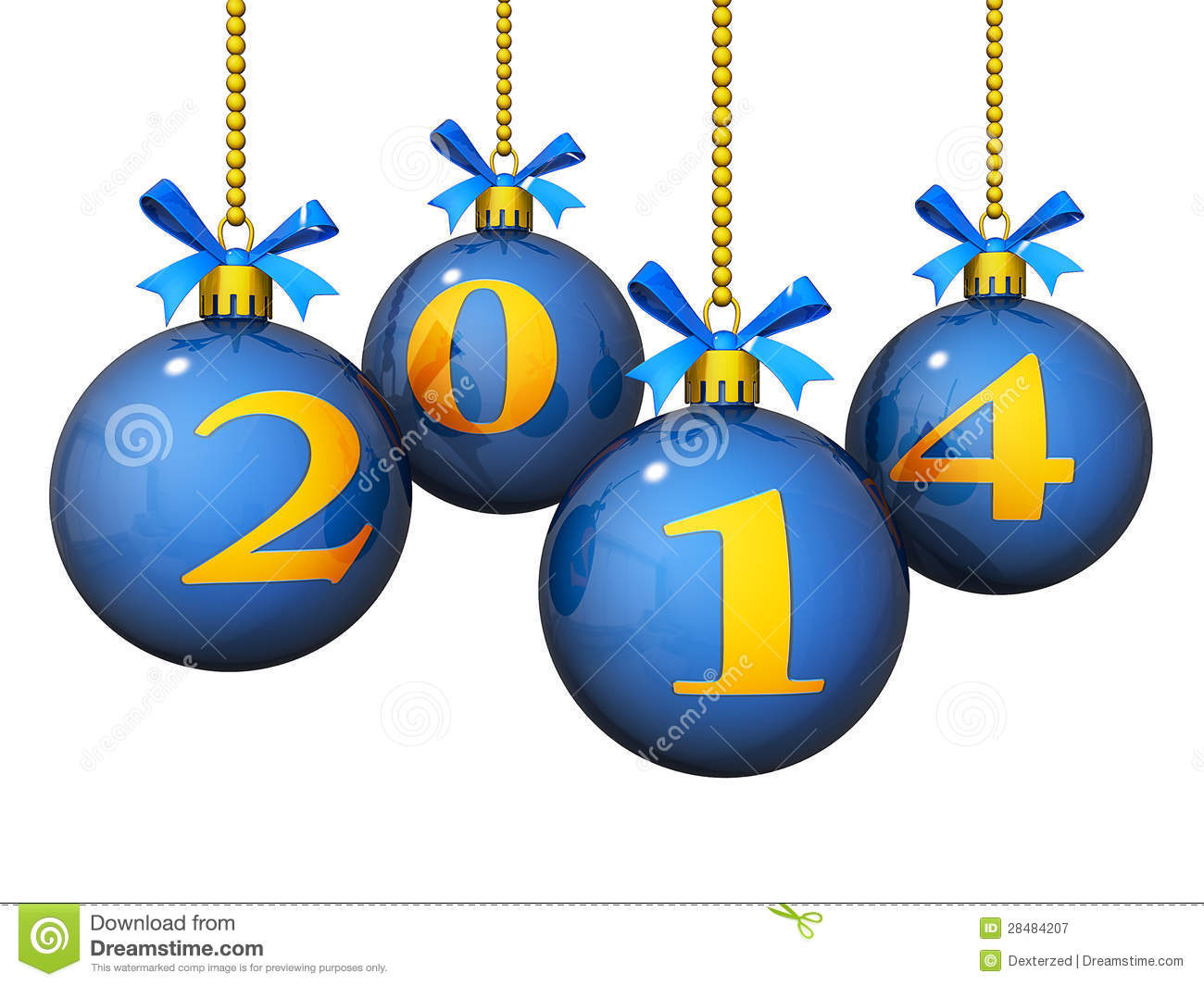 Royalty Free Stock Photography: 2014 New Year Ornaments