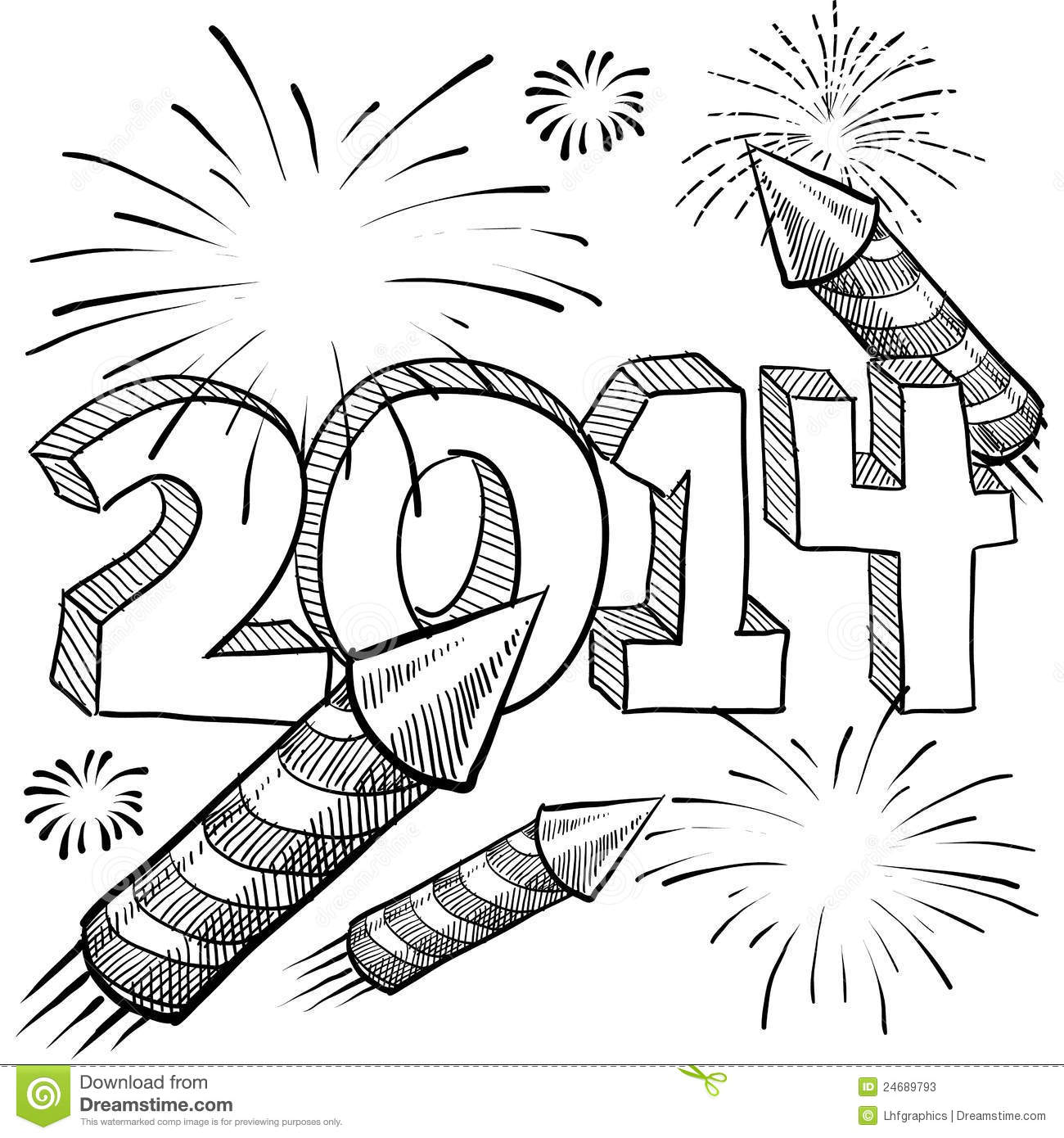 2014 New Year S Fireworks Vector Stock Photos Image