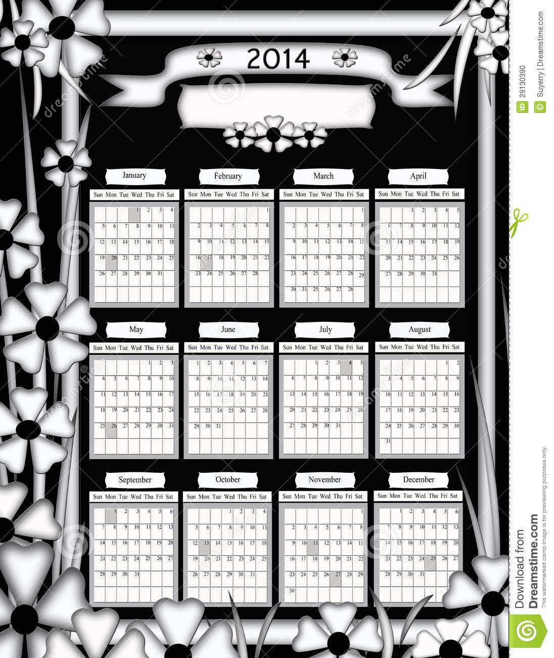 Calendar Black And White : Unique black and white floral design calendar stock