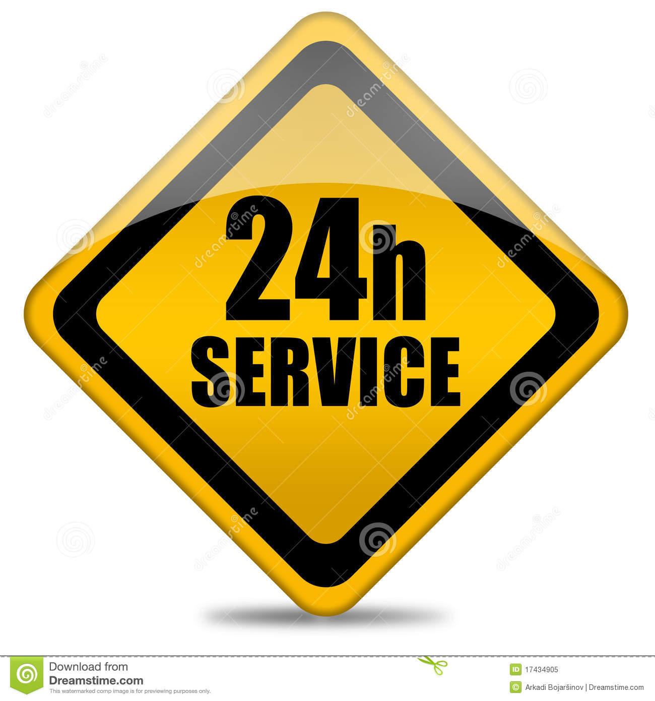 24 Hours Service Sign Royalty Free Stock Photo Image