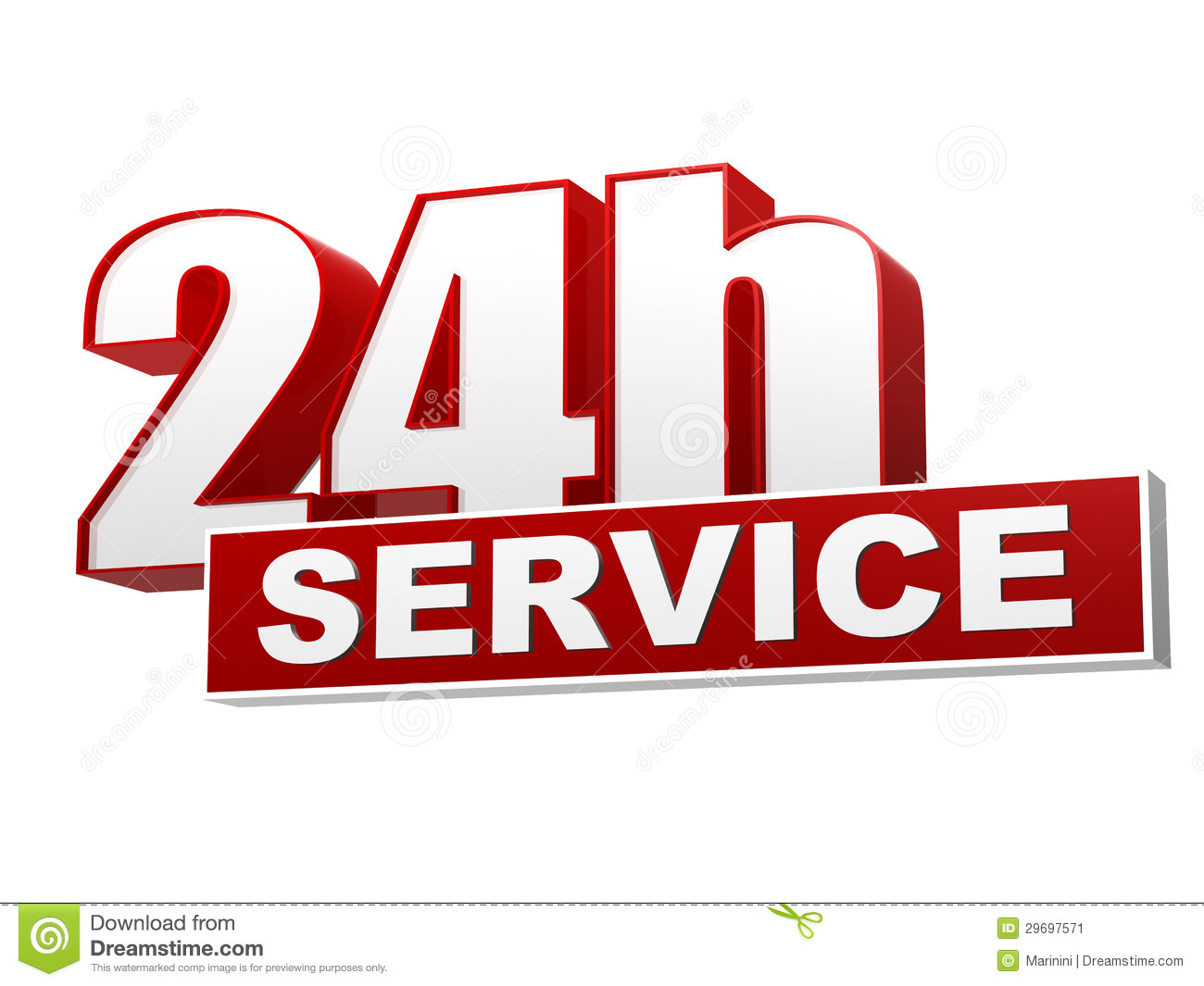 24h Service Red White Banner - Letters And Block Stock ...