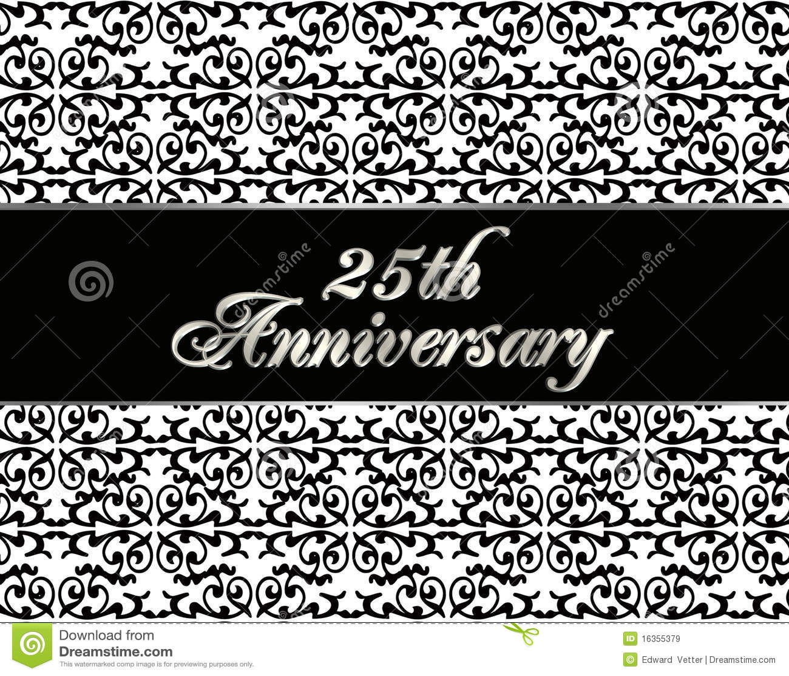 Célèbre 25ème Carte D'invitation D'anniversaire Images libres de droits  RN46