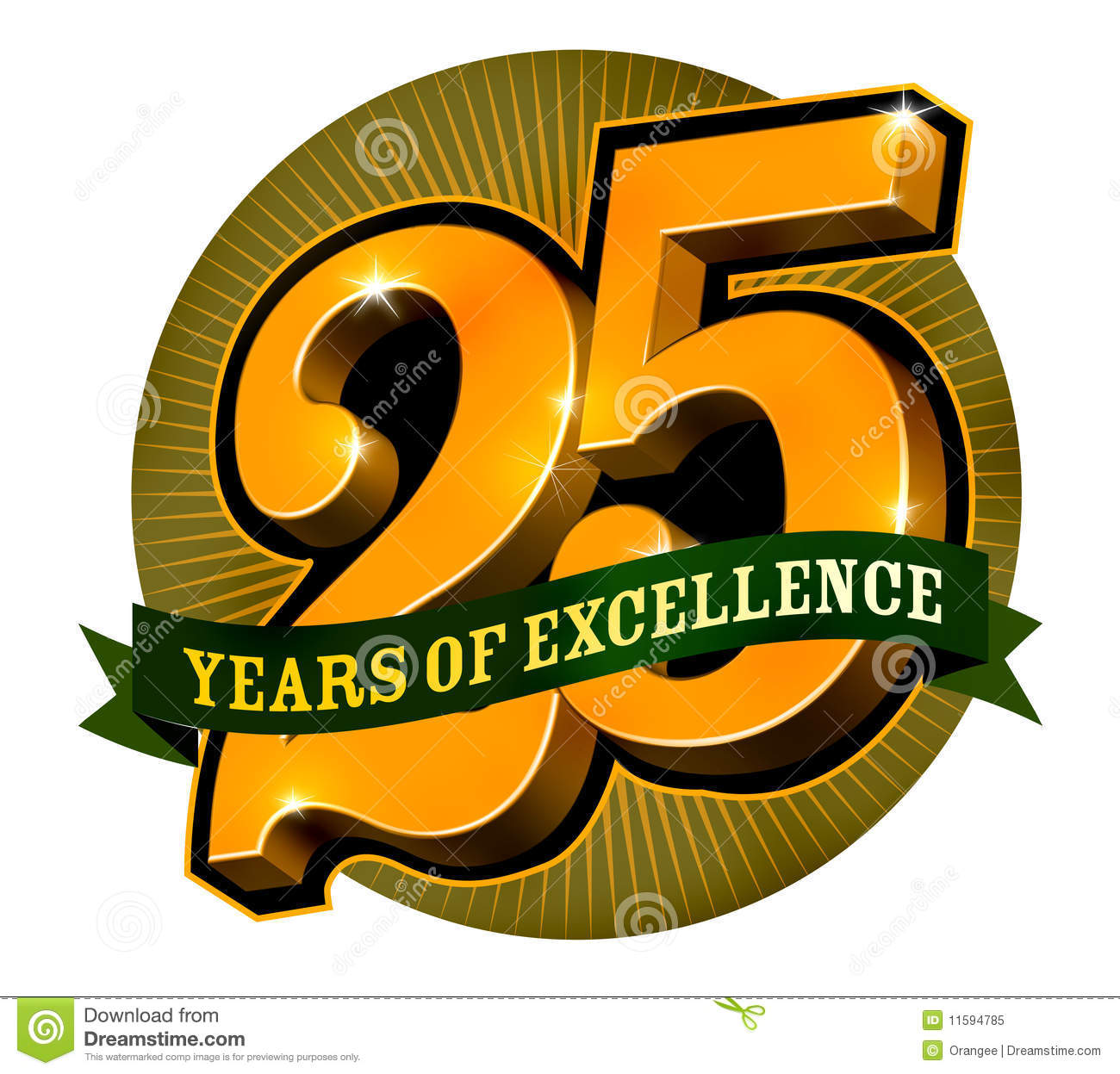 logo design for 25 years of excellence stock vector illustration