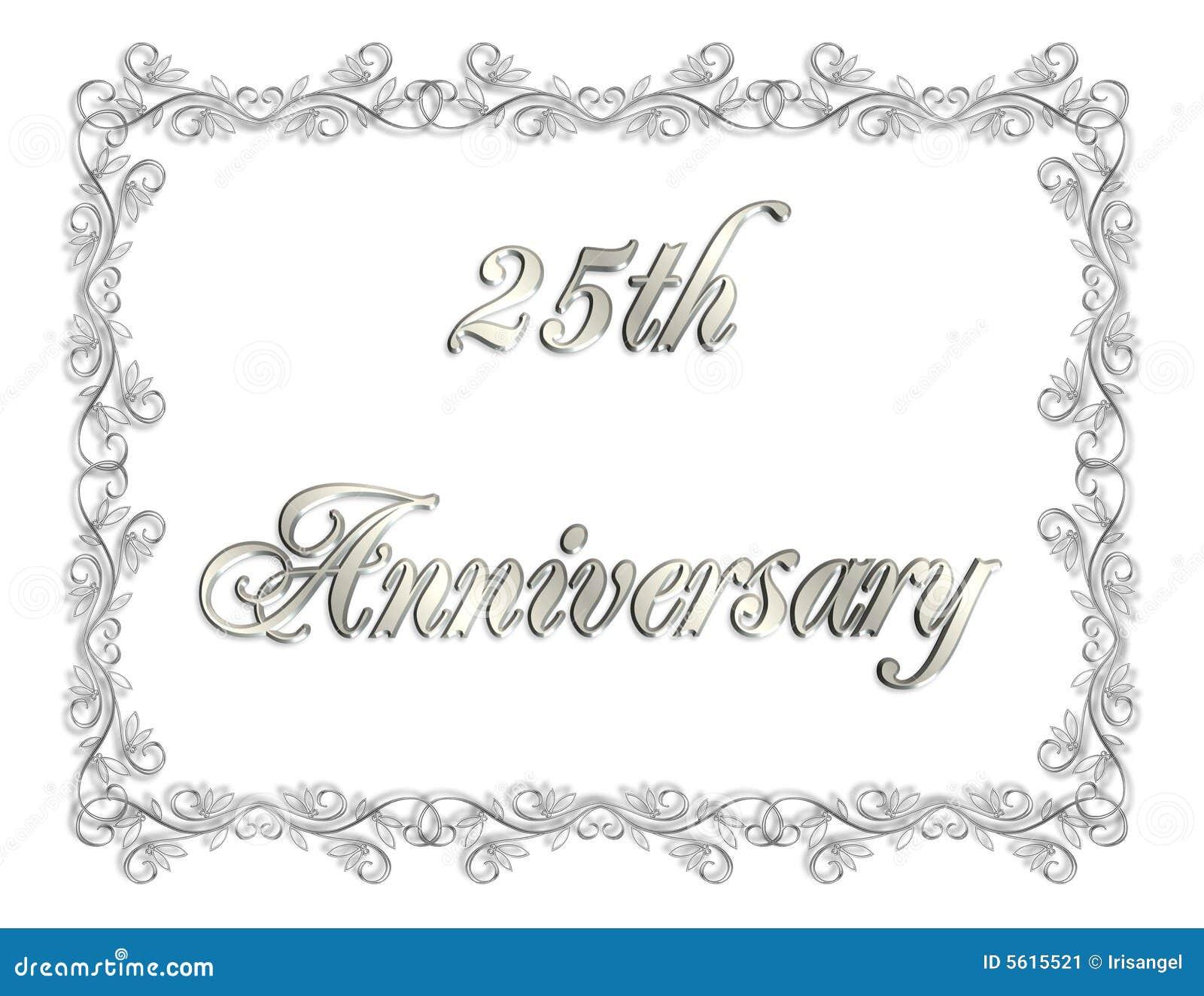 25th anniversary invitation 3d illustration stock illustration