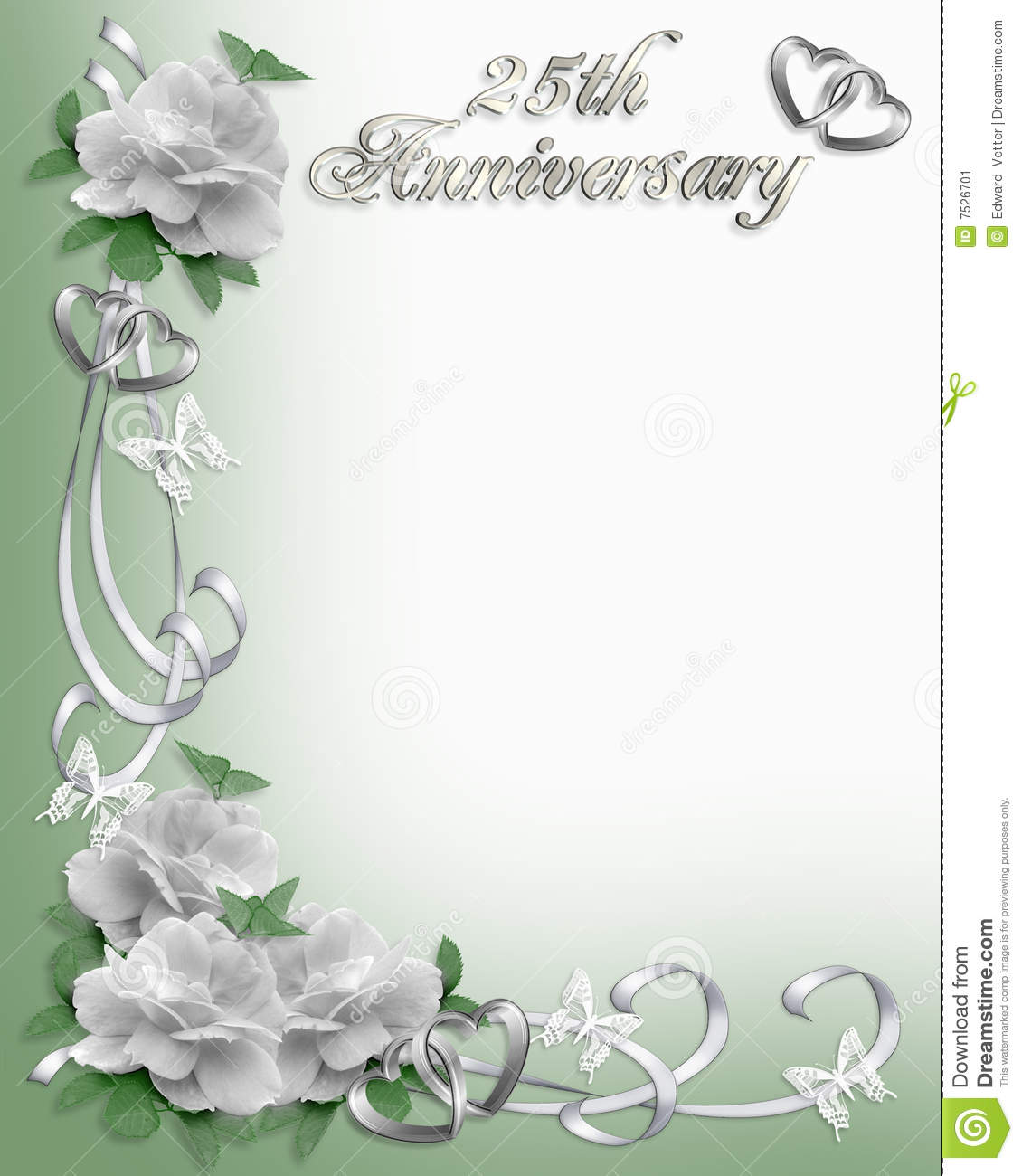 Image and illustration composition white roses design element for 25th wedding anniversary invitation background, border or frame on soft green with copy ...