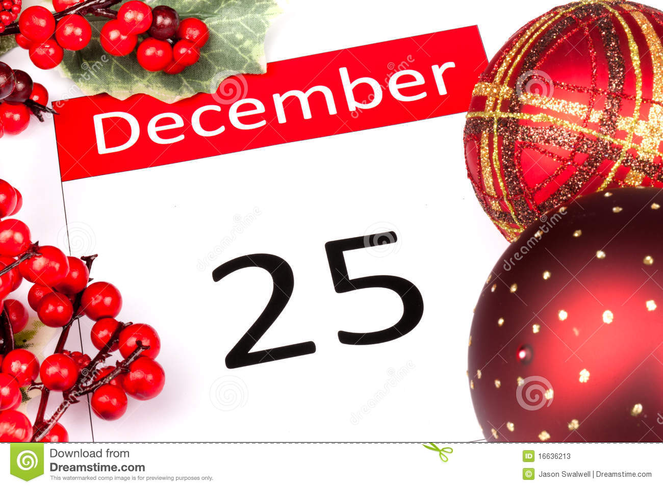 Vector christmas candy pictures - Calendar Date Of 25 December With Seasonal Holly And Red Berries